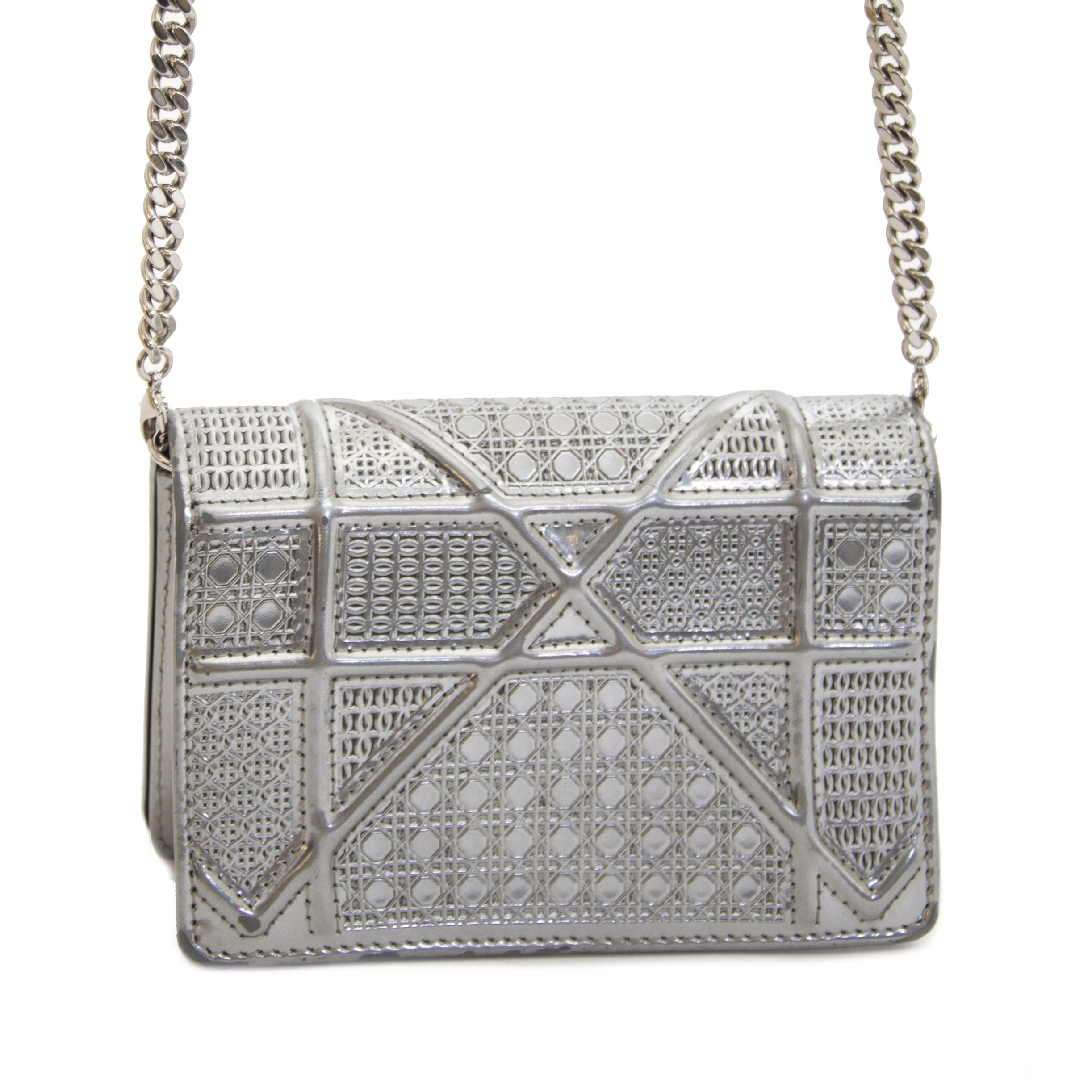 Authentic second hand vintage Dior Diorama Mini Silver Bag buy online webshop LabelLOV