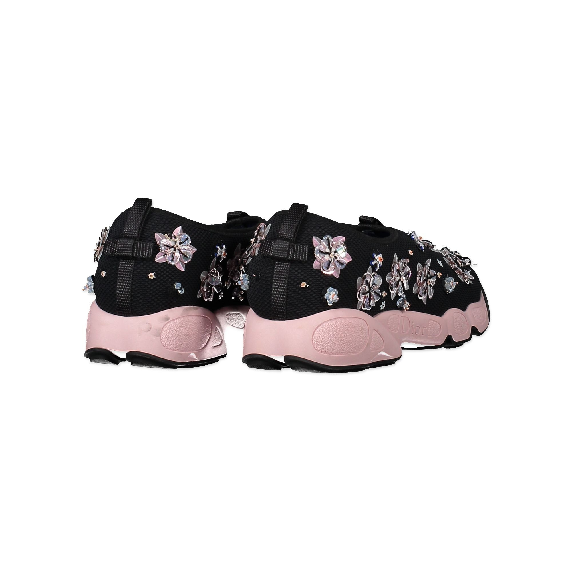 Christian Dior Fusion Pink Flower Embroidered Trainer Sneakers - Size 41