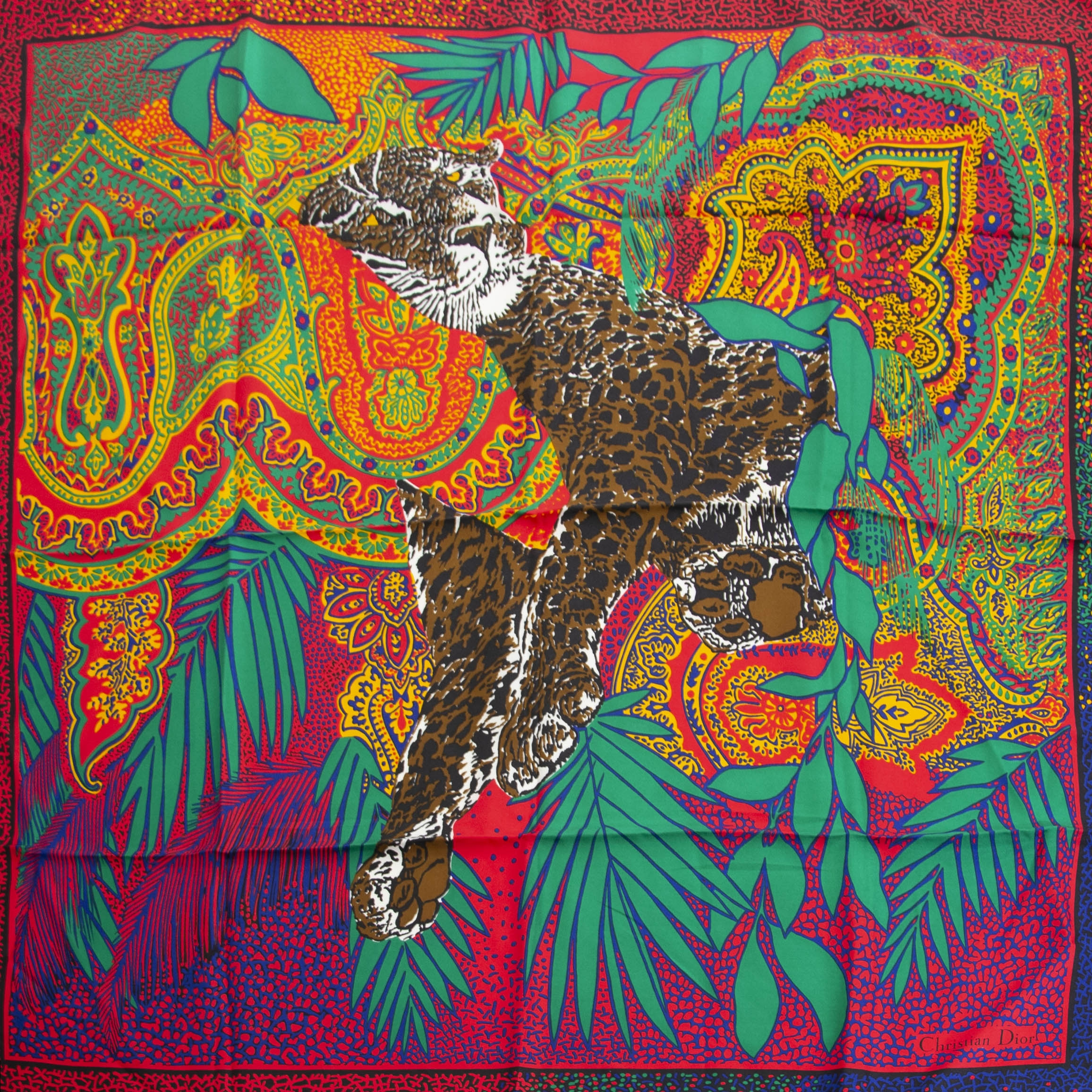 Buy your authentic  Christian Dior Tiger Silk Scarf for the best price at Labellov