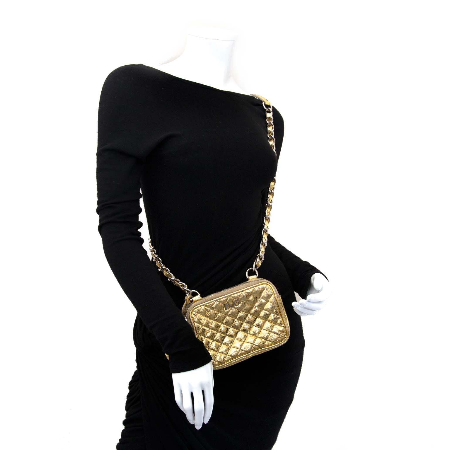 dolce & gabbana gold metallic crossbody bag now for sale at labellov vintage fashion webshop belgium