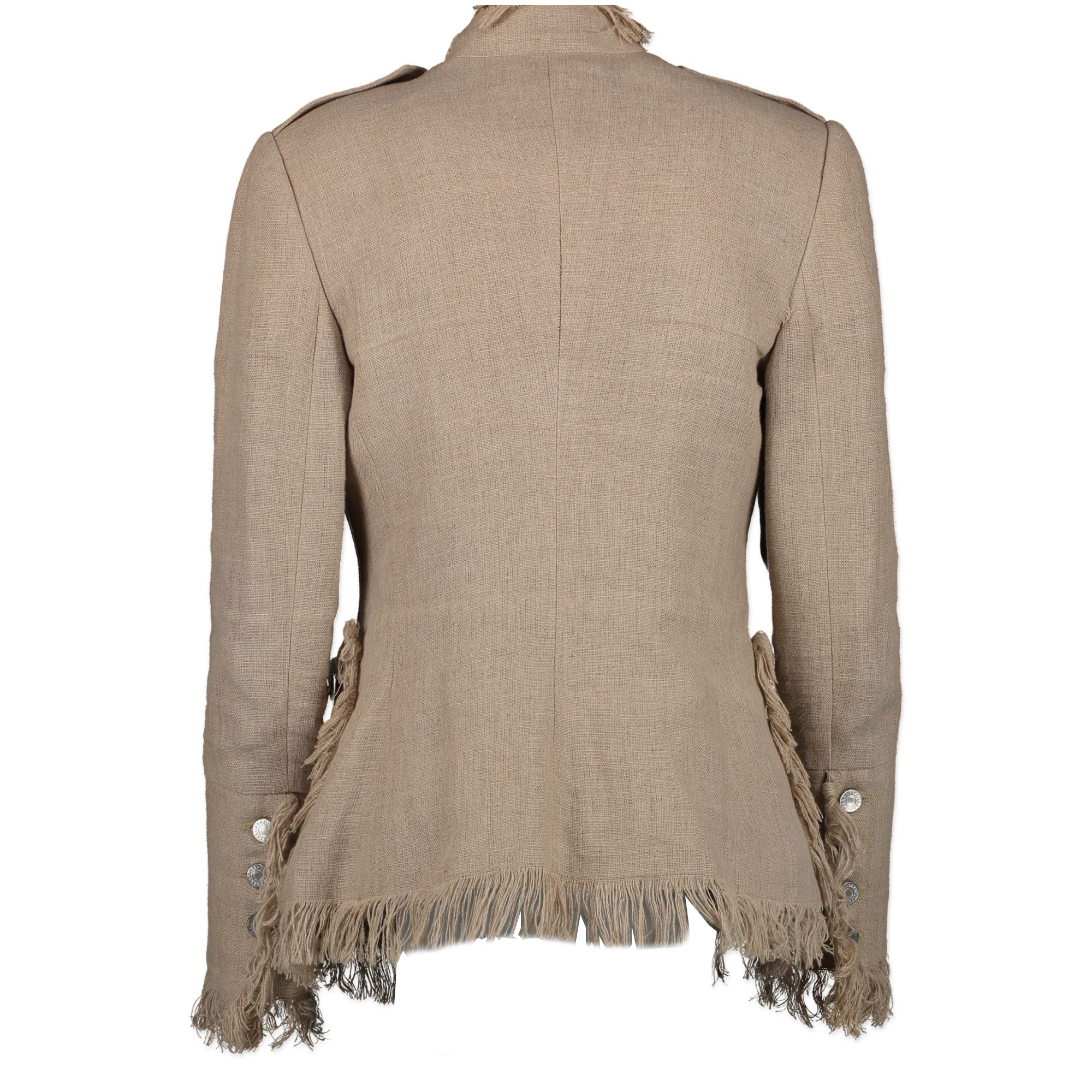 Dolce & Gabbana Beige Woven Linen Fringe Jacket