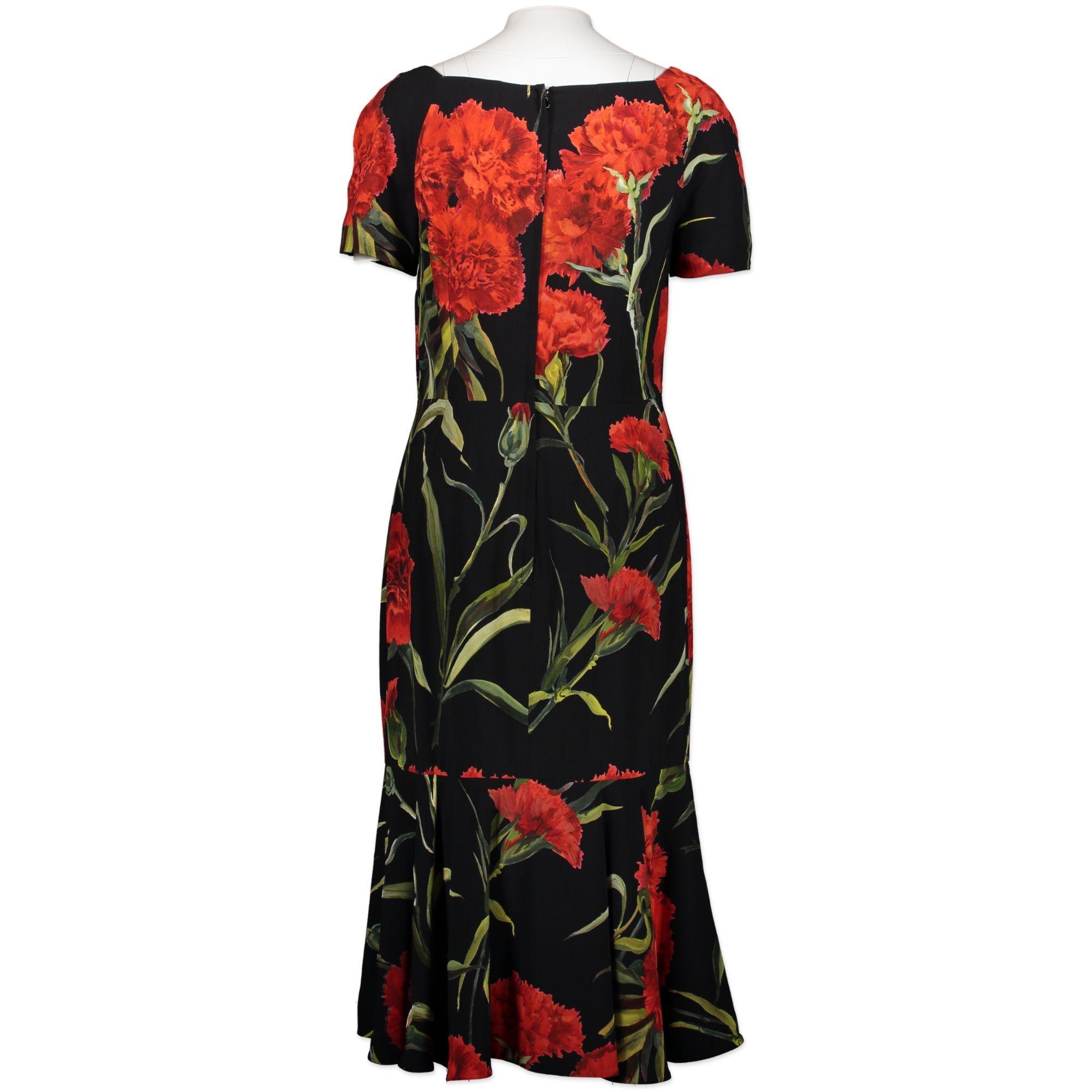 Dolce & Gabbana Flower Print Black Dress - Size 46