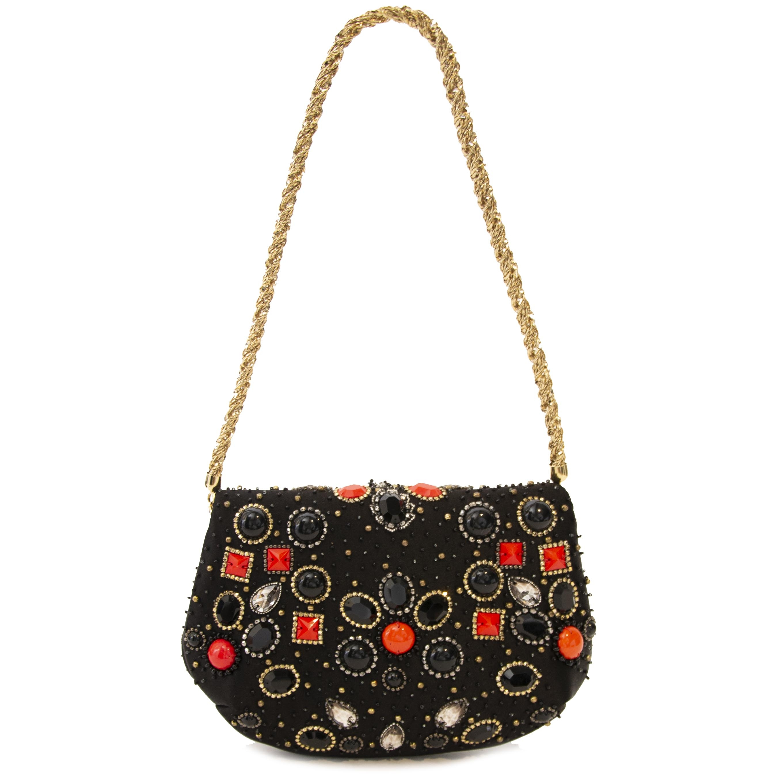 Dolce & Gabbana Black Miss Bijoux Embellished Chain Clutch now at labellov.com antwerp