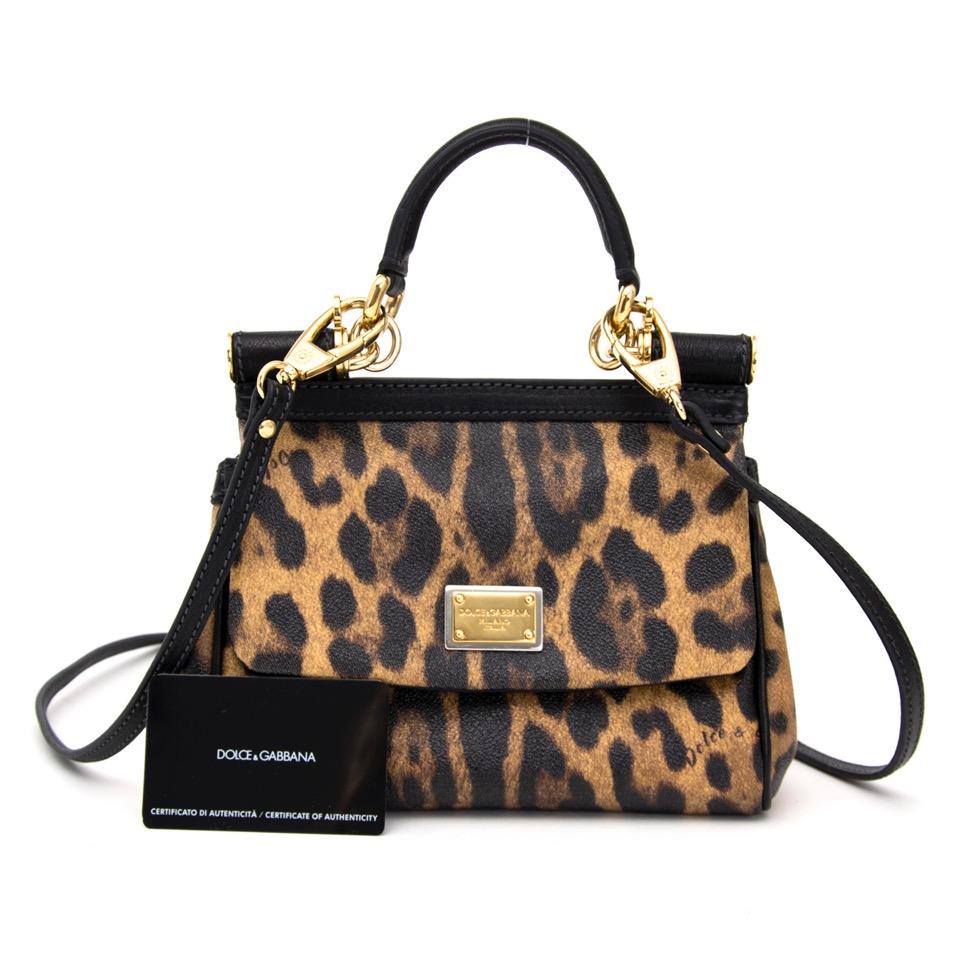 koop veilig online tweedehands net als nieuw Dolce & Gabbana Miss Sicily Bag in Leopard print