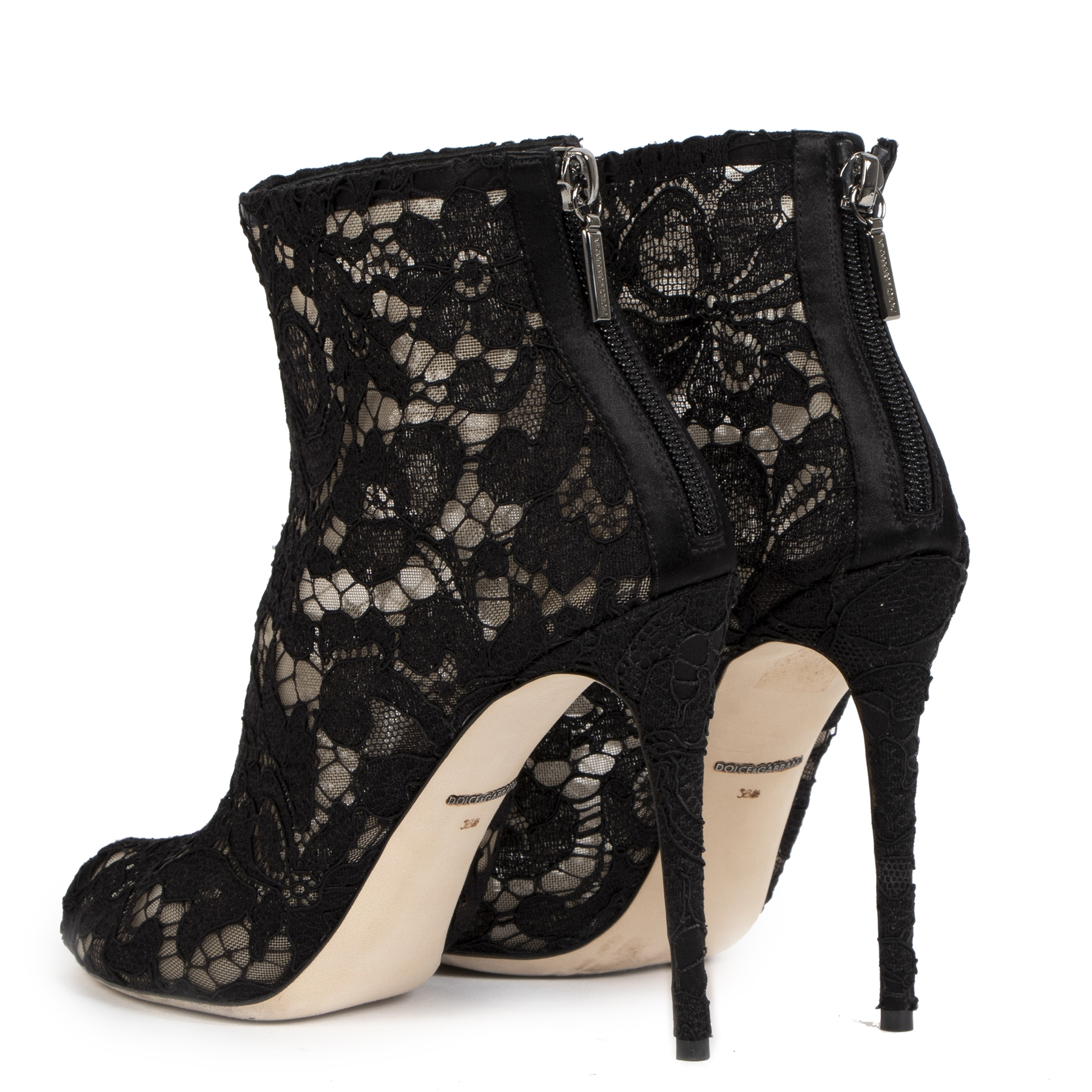 Dolce & Gabbana Lace Mesh Peep-Toe Ankle Boots - size 38 1/2 (