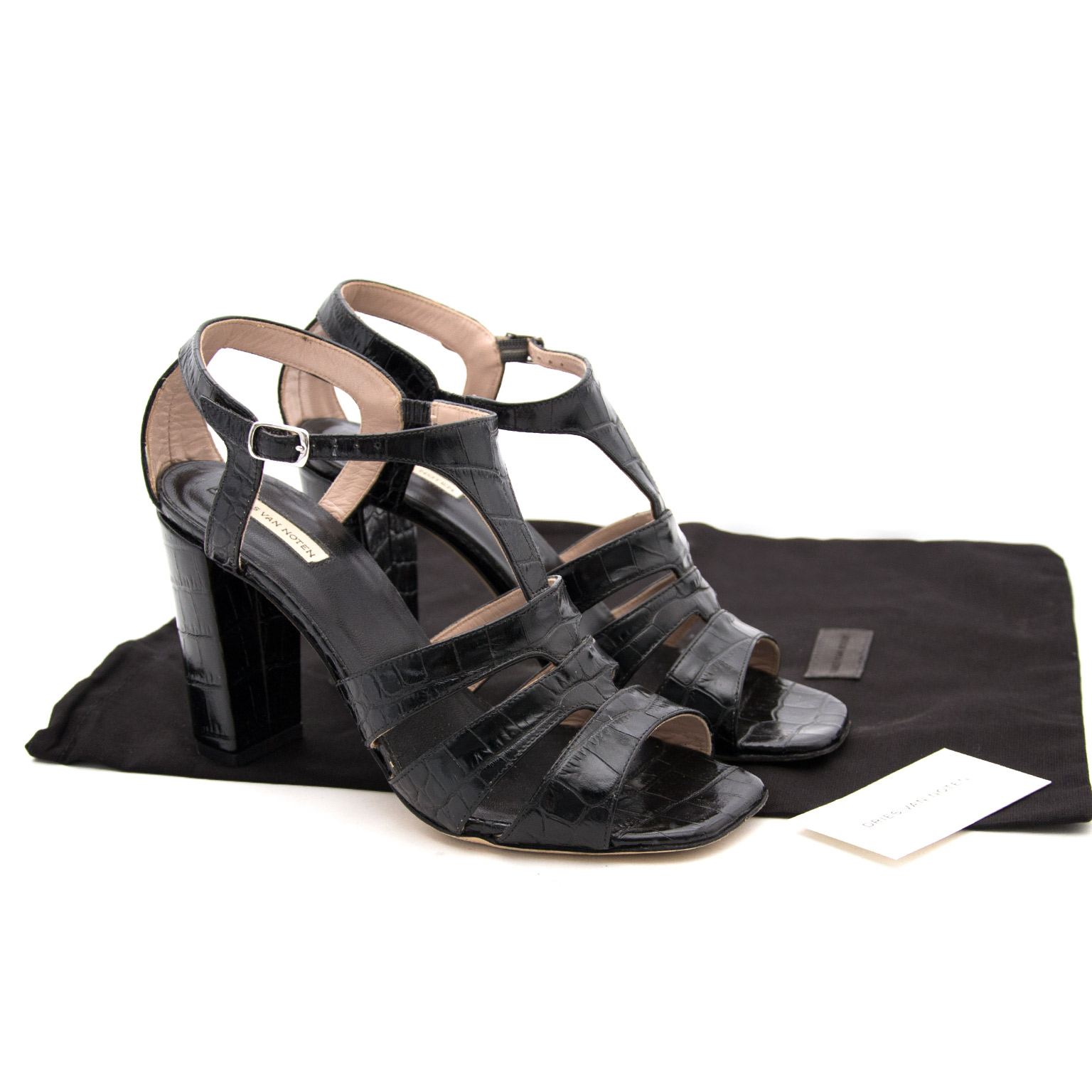 Buy safe and secure online at labellov.com Dries Van Noten Black Sandal Heels