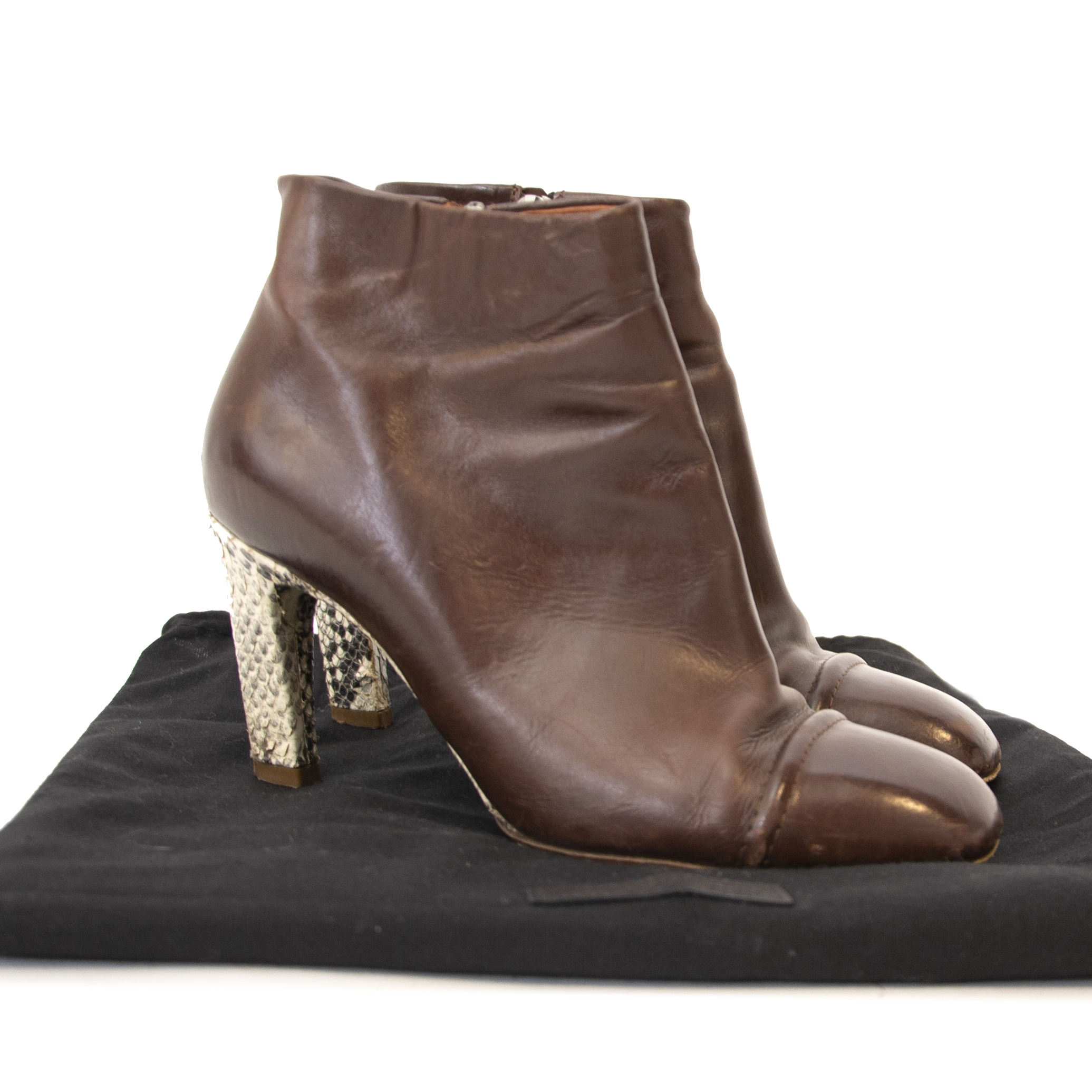 Dries Van Noten Brown Python Ankle Boots at Labellov. Online webshop vintage designer handbags