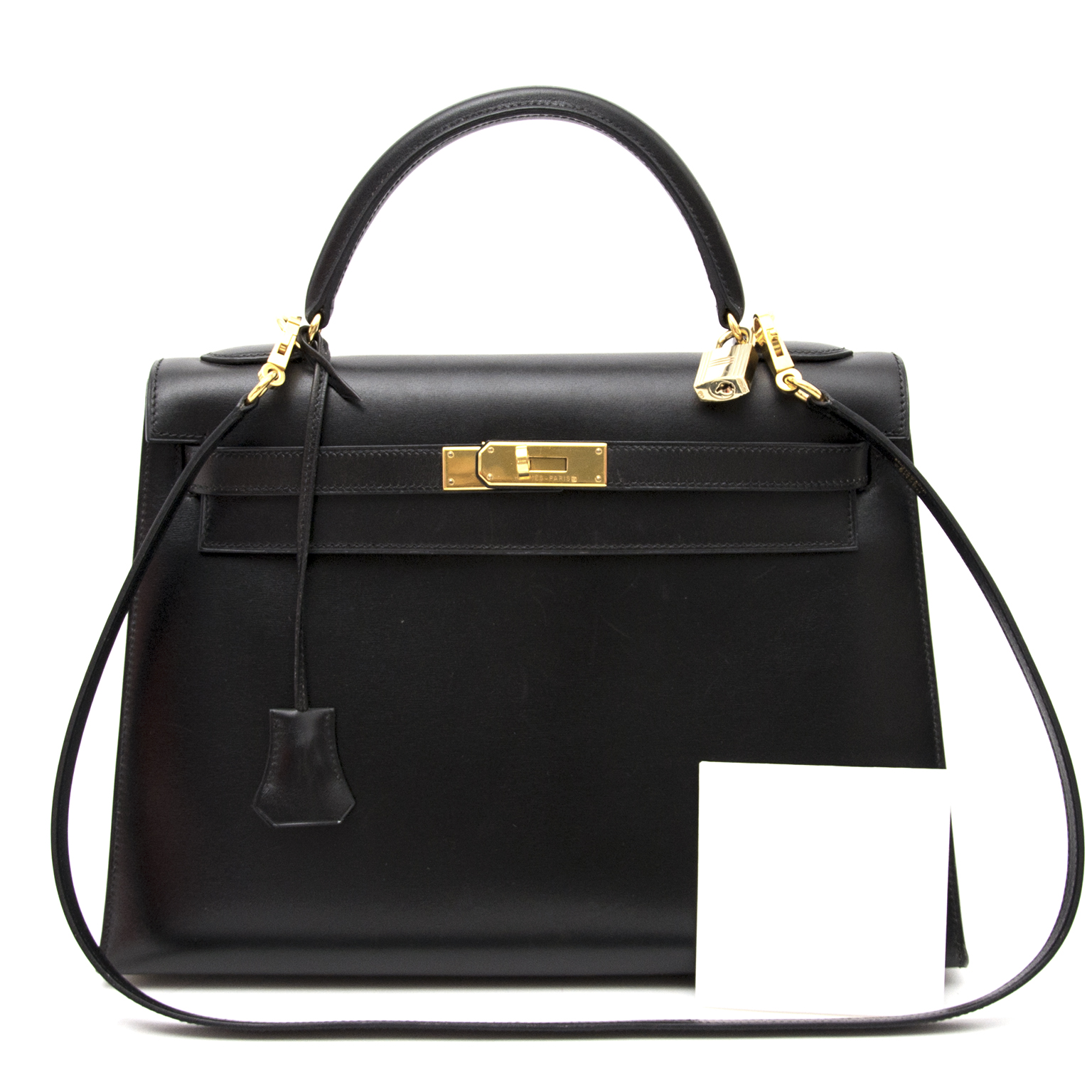 shop safe online at the best price Hermès Kelly 32 Black Boxcalf