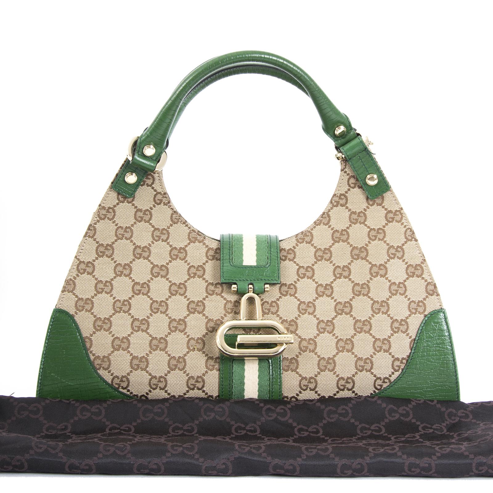 ea08ff45ab2 Gucci Monogram Green Top Handle Bag Gucci Monogram Green Top Handle Bag
