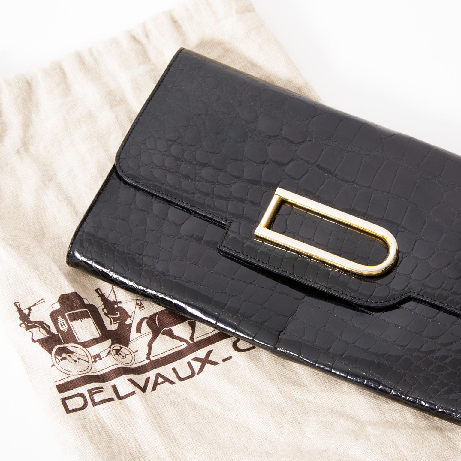 Vintage Preowned Delvaux Pochette Clutch Croco Black