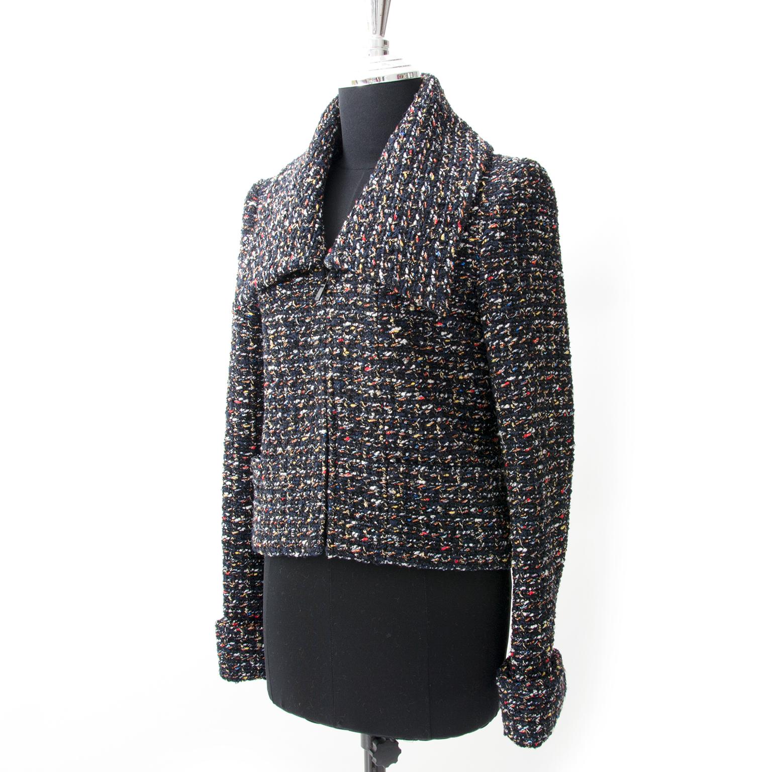 acheter en ligne pour le meilleur prix Chanel Tweed Boucle Zipper Jacket neuf 100% authentic