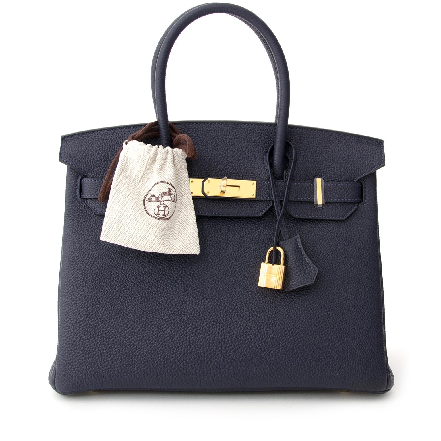buy safe online secondhand designer brend new Hermès Birkin 30 Bleu Nuit Togo GHW
