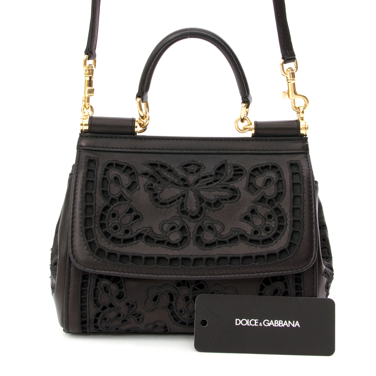 koop online aan de beste prijs Dolce & Gabbana Mini Sicily Bag Cutwork Napa Leather   net als nieuw webshop LabelLov, antwerpen