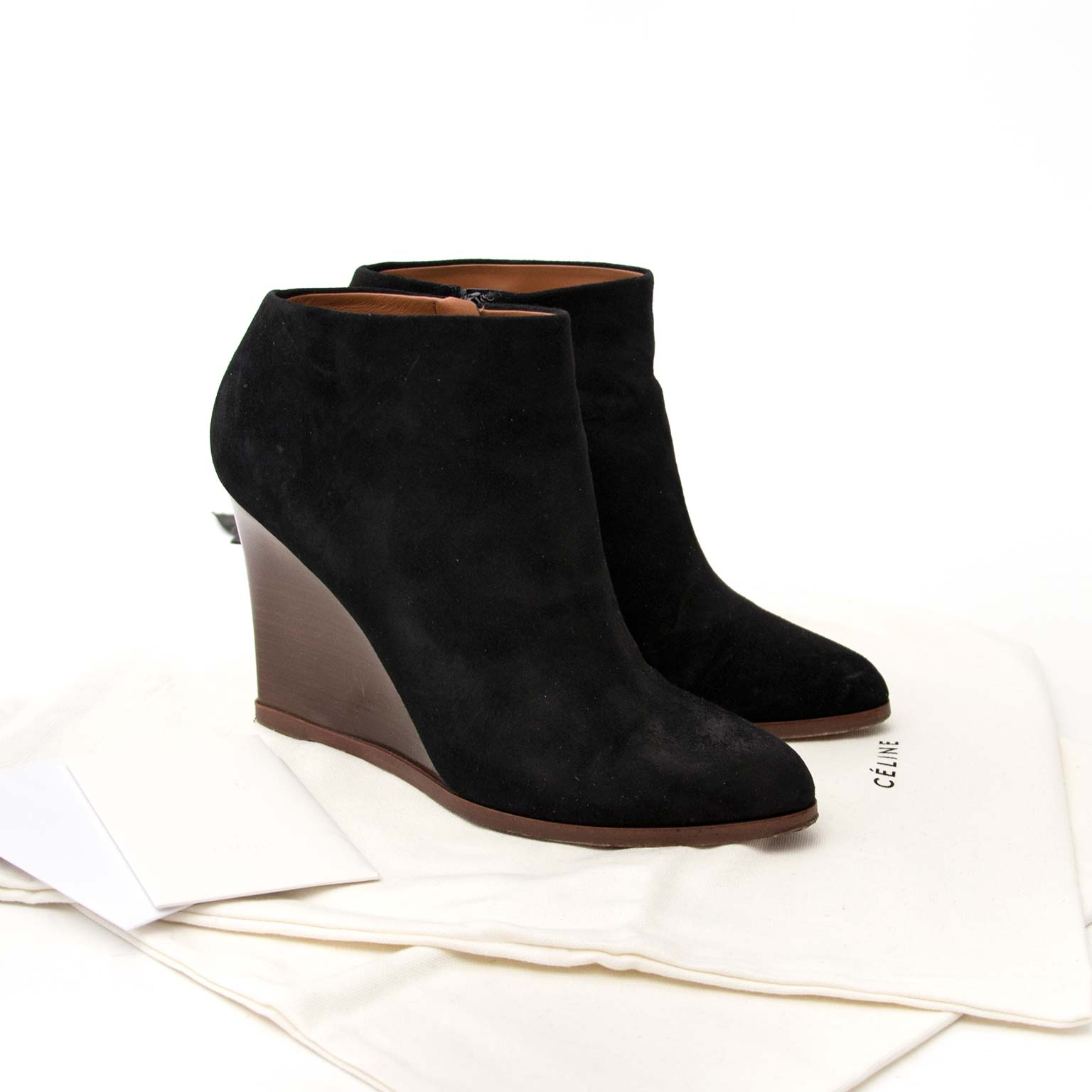 céline wooden wedge ankle boot now online at labellov.com for the best price