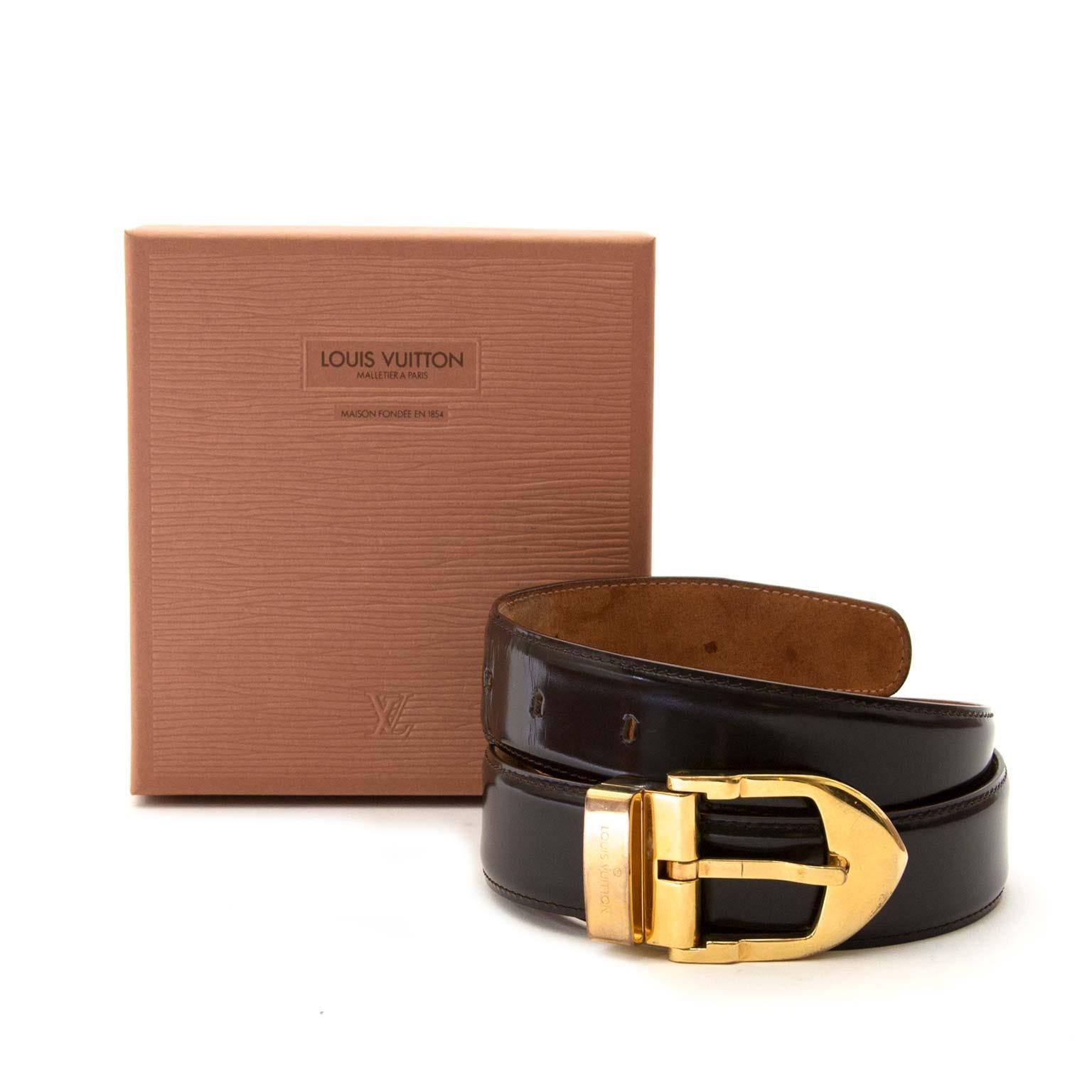 louis vuitton brown patent gold buckle belt now for sale at labellov vintage fashion webshop belgium