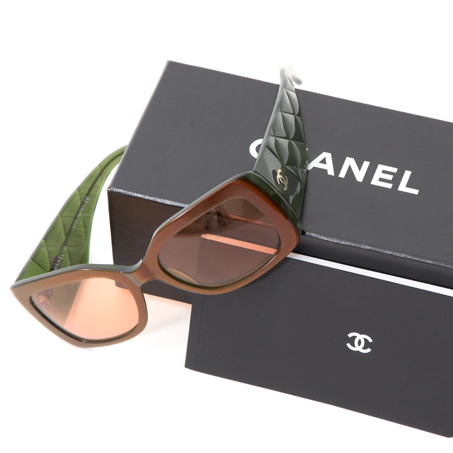 Brand new and authentic Chanel Bicolor Sunglasses in khaki green and brown shop safe and secure at Labellov