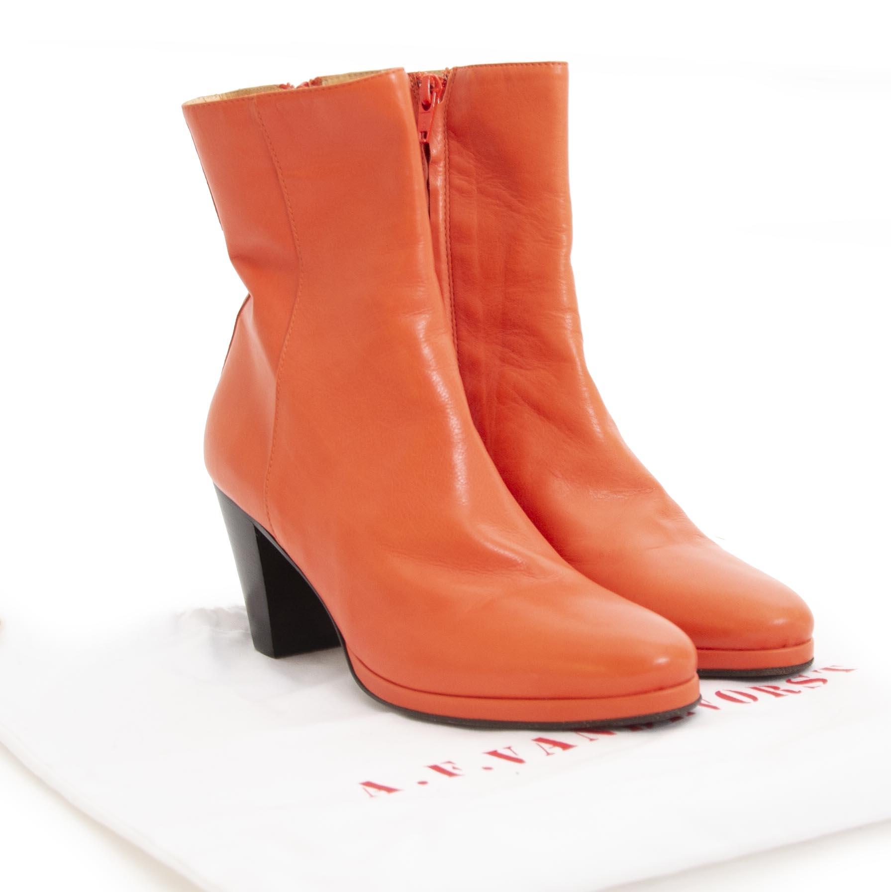 shop safe online Af Van De Vorst Orange Leather Boots - Size 36