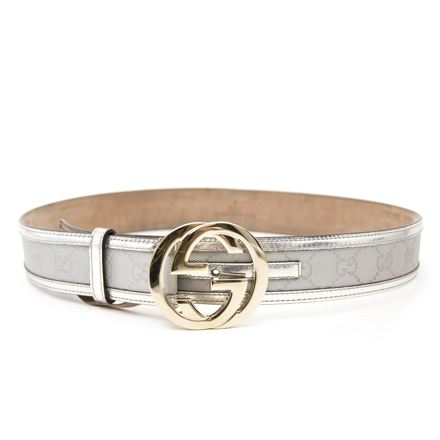 Vintage Gucci Fabric and Leather Silver Belt kopen