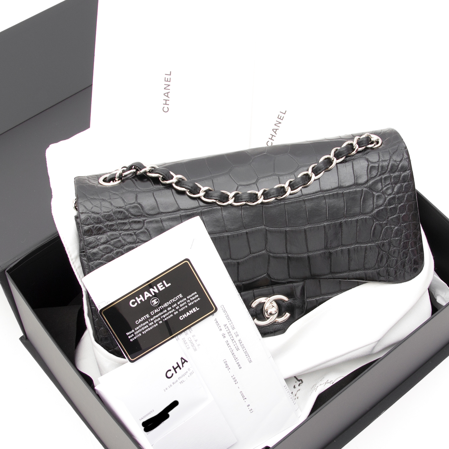 66a4704ce4ed28 Rare Chanel Alligator Jumbo Double Flap Black shop safe and secure  secondhand luxury bag chanel double flapbag like new worldwide shipping