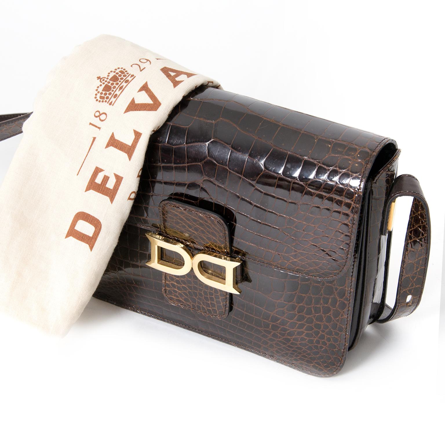 d04e5e219dc9f ... Delvaux Dark Brown Crocodile Bourgogne Shoulder Bag like new 100%  authentic designer Delvaux