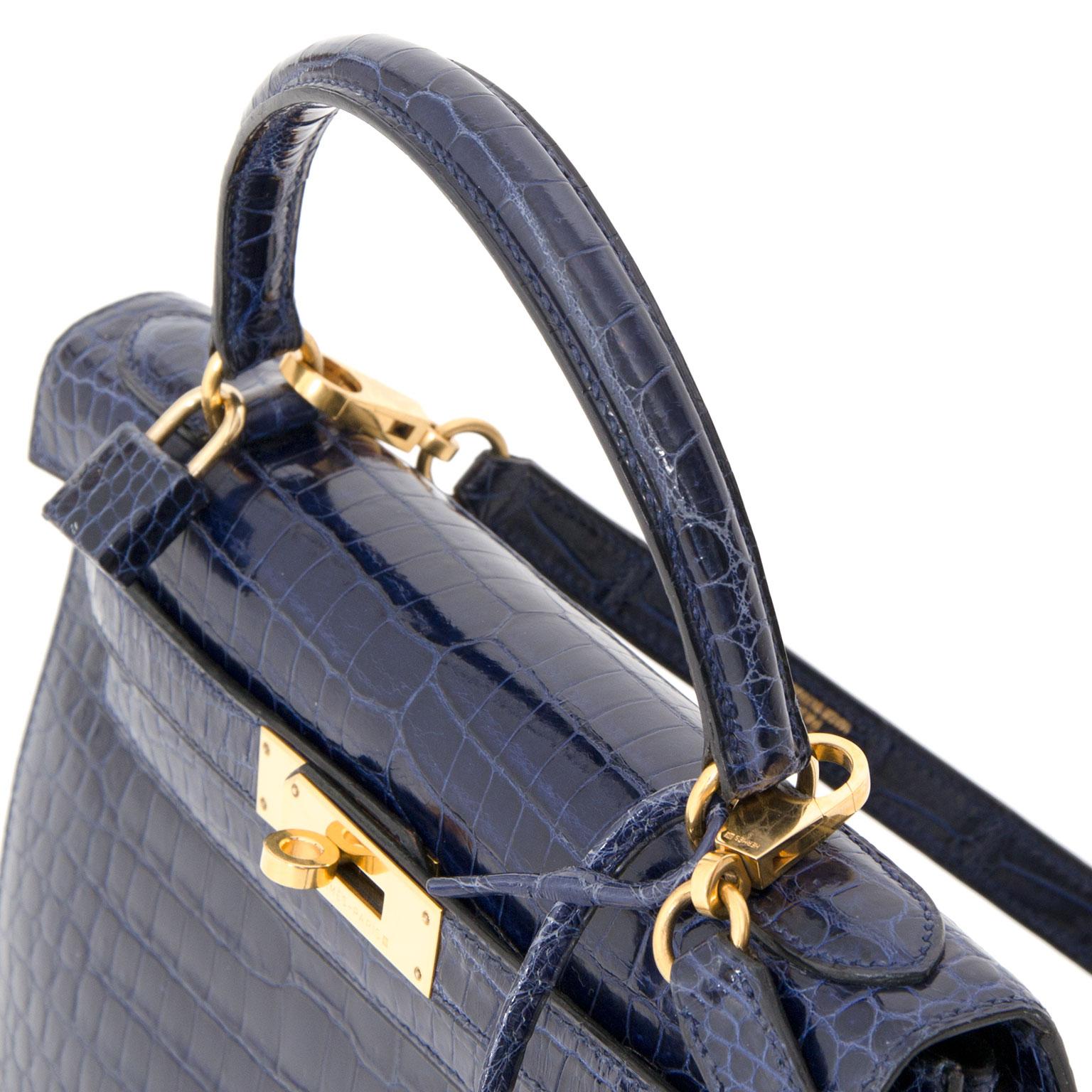 Skip The Waitinglist 100% Authentic Hermes Kelly 28 Porosus Blue