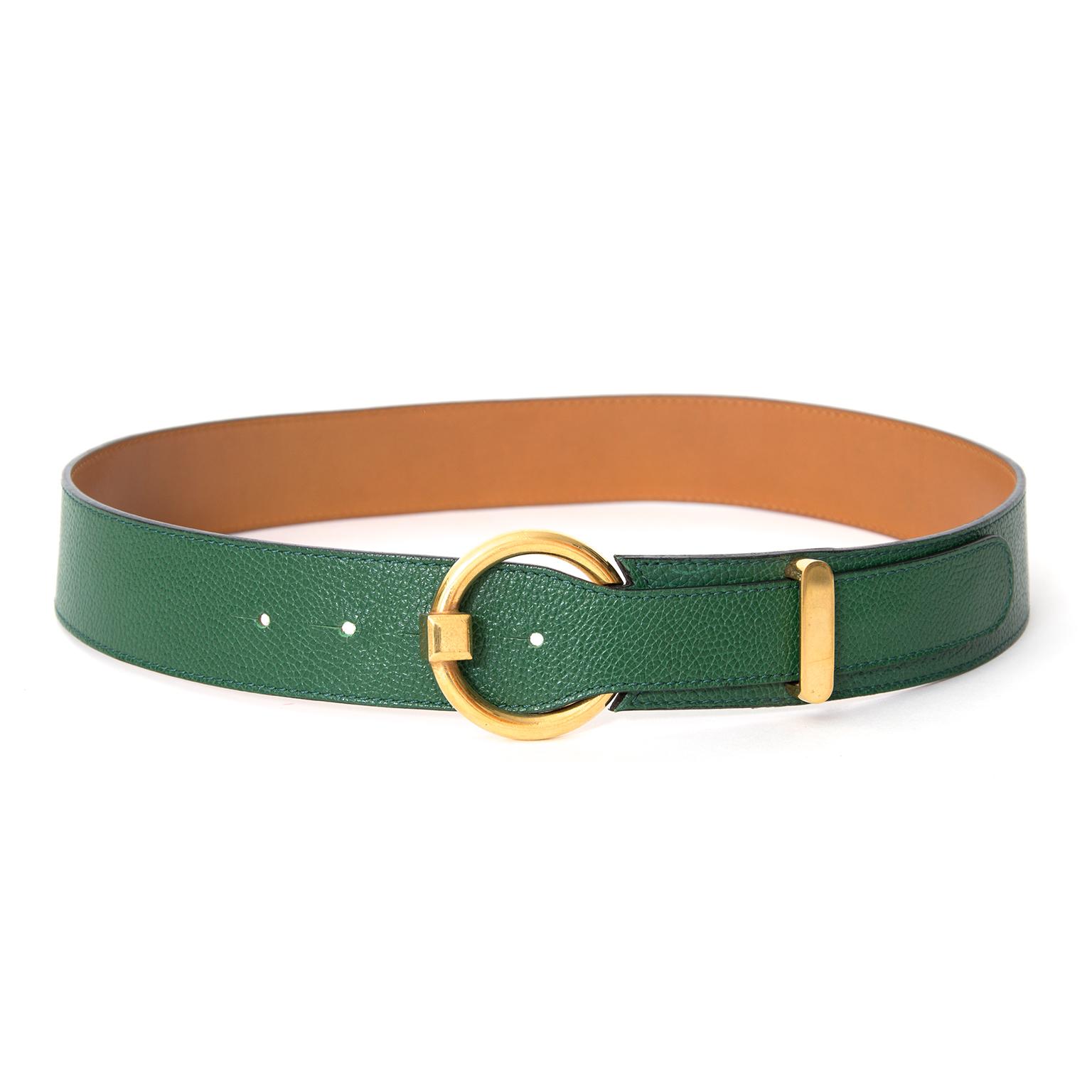 shop safe online secondhan designer Delvaux Green Circle Belt