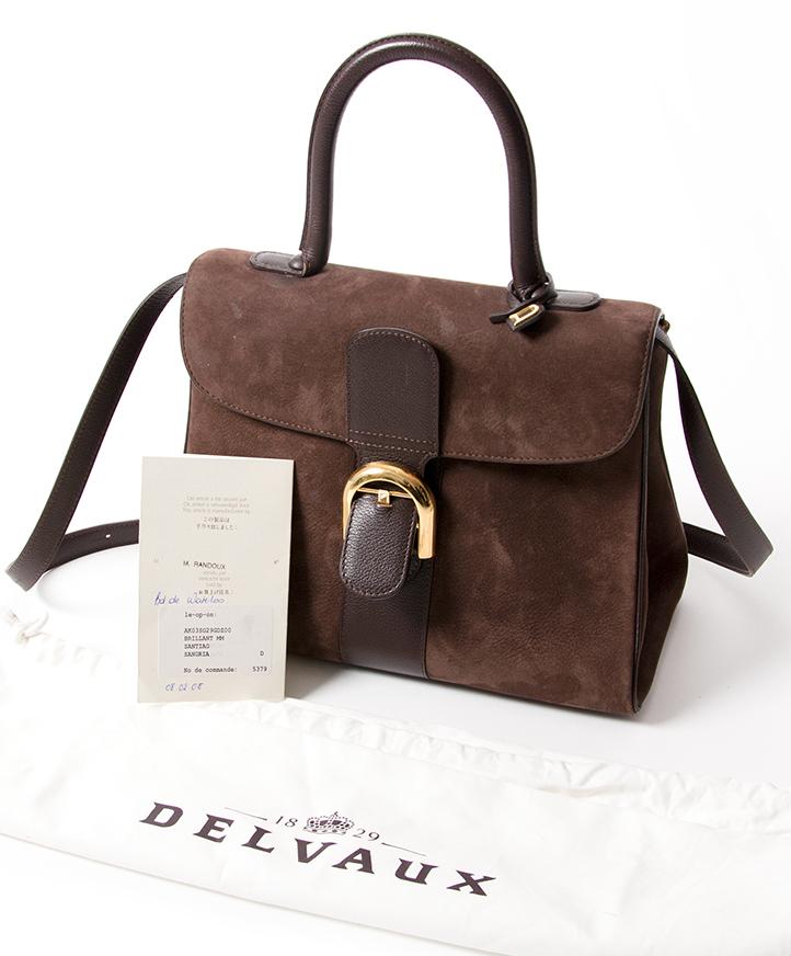 d348c4e4bdc1 ... webshop Antwerpen België LabelLOV designer merken Delvaux Brillant MM  Dark Brown Nubuck GHW Buy authentic secondhand Delvaux bags at the right  price