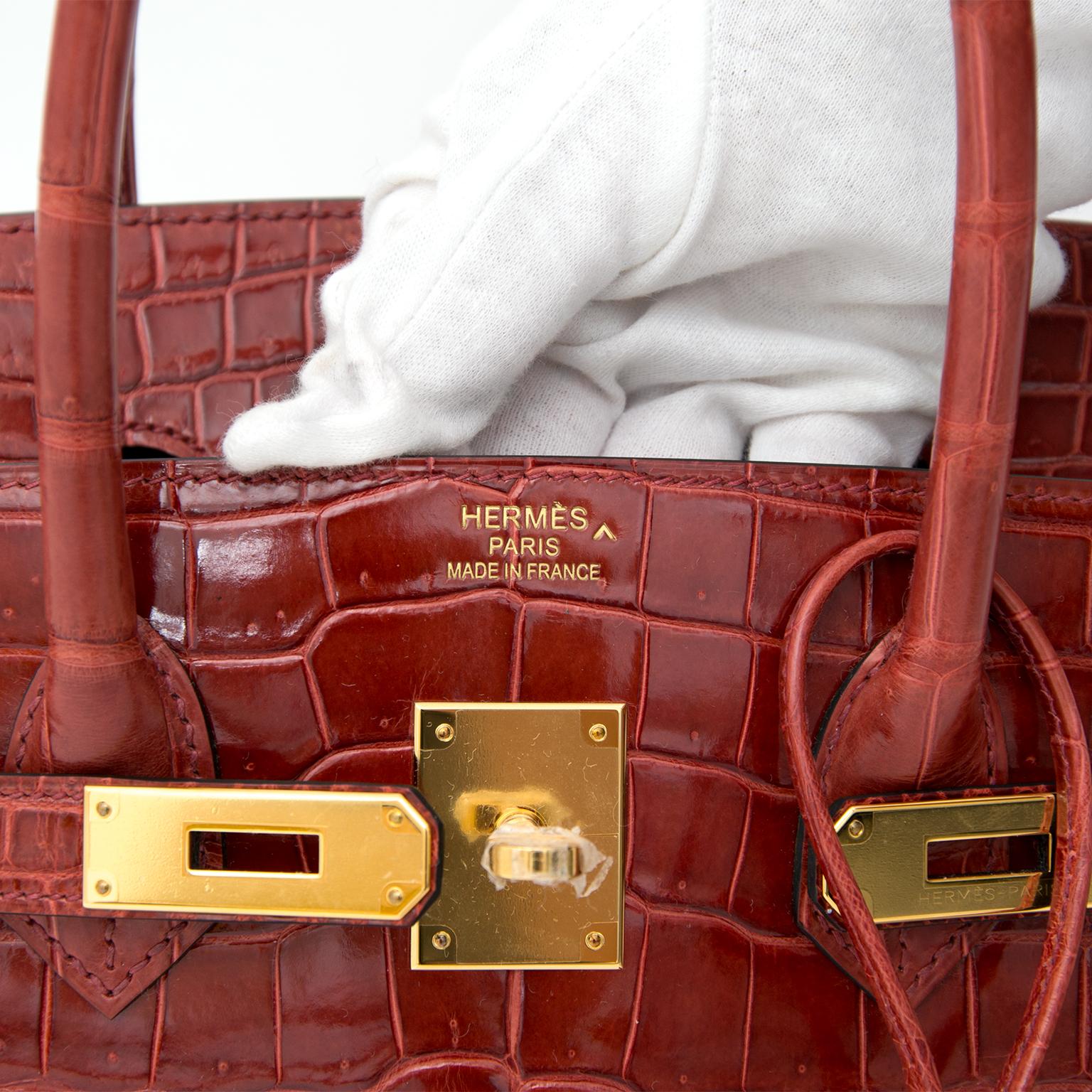 Extremely RARE & NEW Hermès Birkin 35 GHW Crocodile Porosus Lisse Rouge H