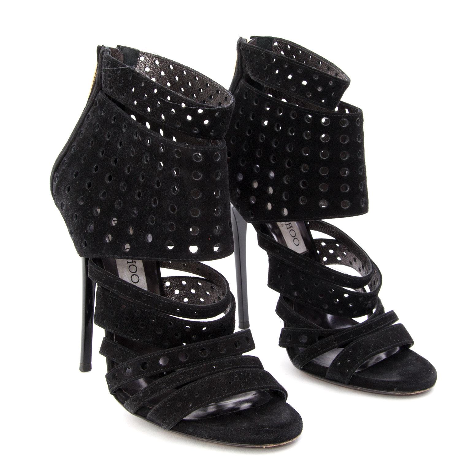 koop veilig online tweedehands Jimmy Choo 'Malika' Perforated Heels.