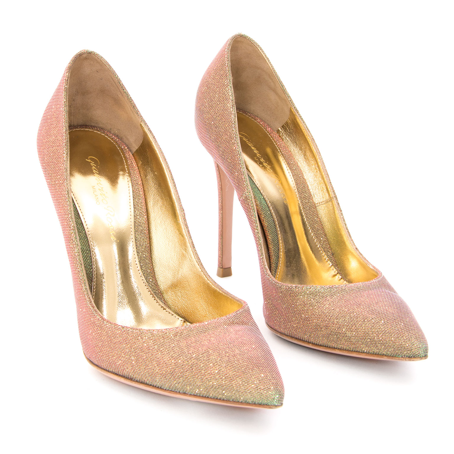 Preowned Gianvitto Rossi Sparkle Iridescent Pumps shop sell resell designer vintage worldwide shipping