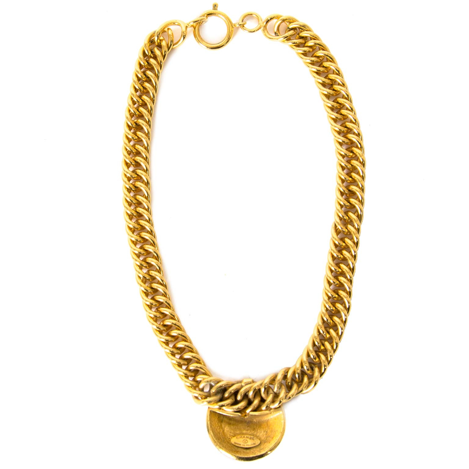 Chanel Gold-Toned Chain Necklace now for sale at labellov vintage fashion webshop belgium