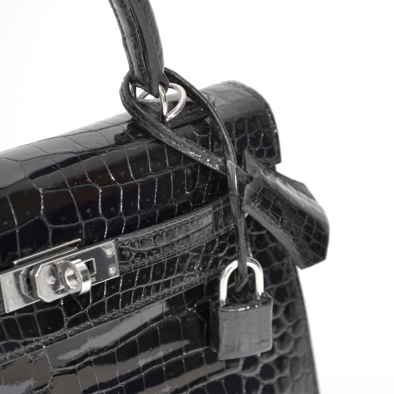 koop snel en veilig online tweedehands hermes RARE Brand New Black Kelly Crocodile Porosus 25 PHW