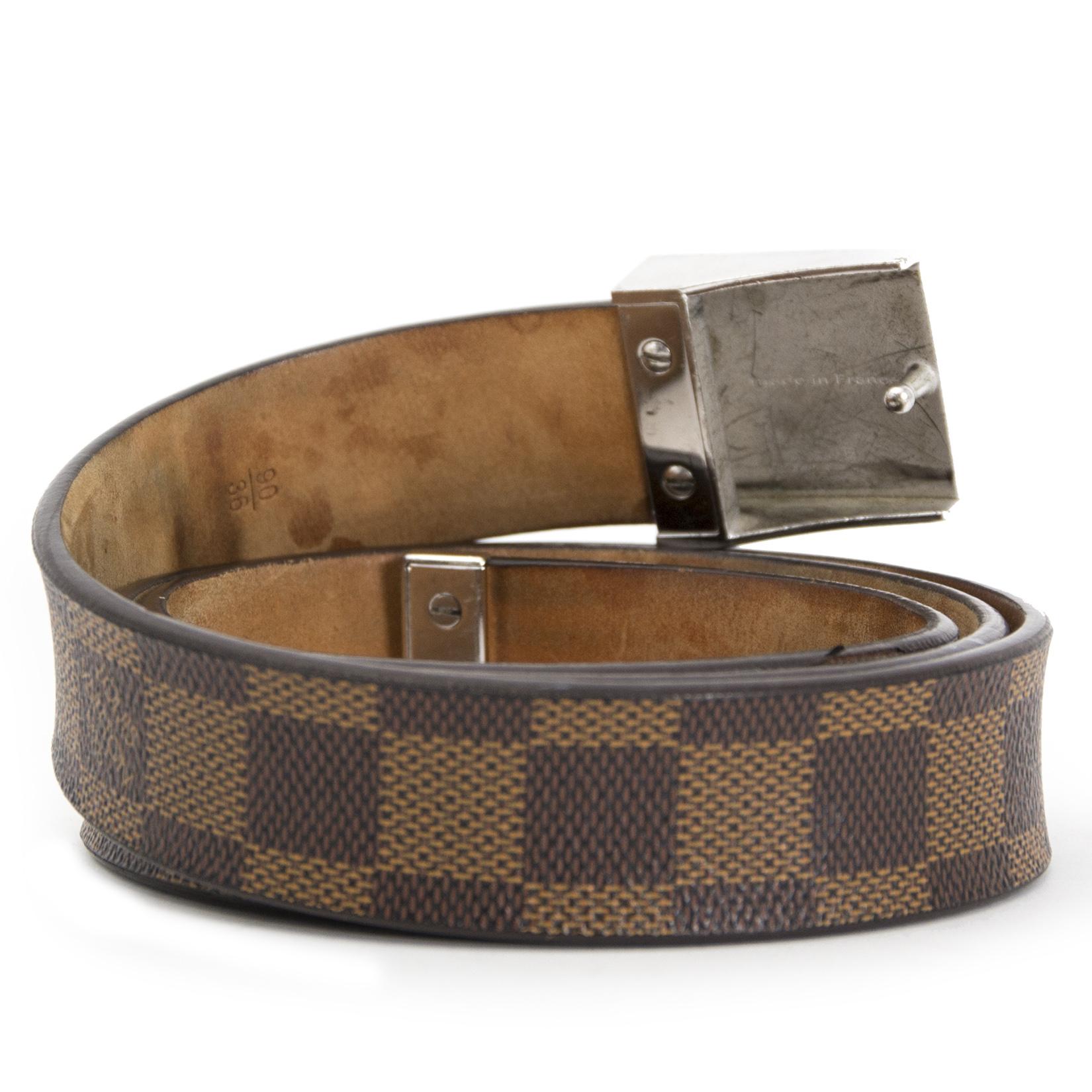 koop veilig online jouw tweedehands Louis Vuitton Damier Belt - size 90