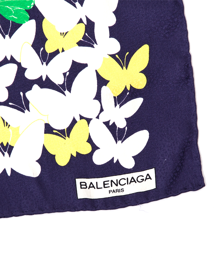 Silk butterfly scarf blue jaune white silk Balenciaga buy online authentic brand