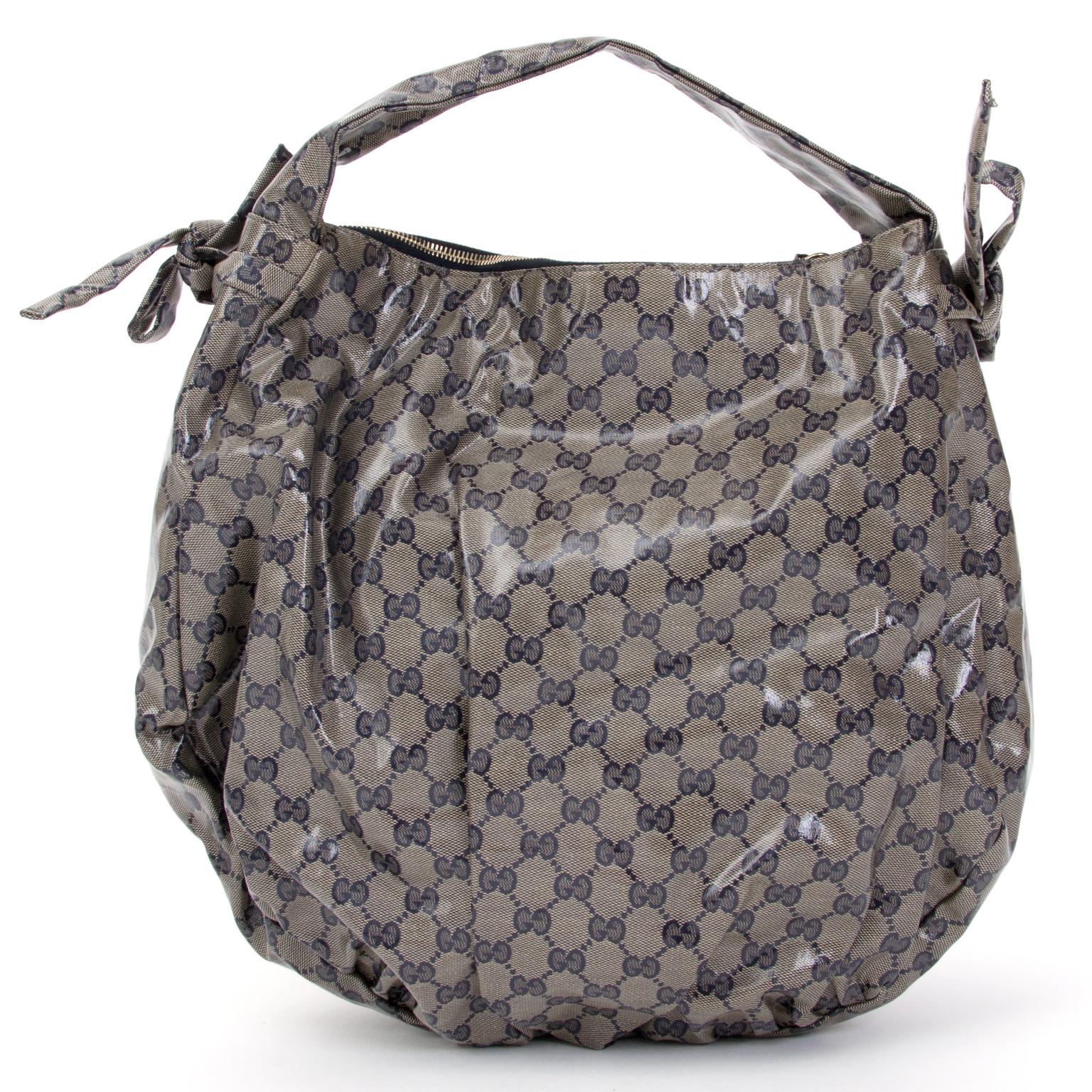 buy safe online second hand designer Gucci Hysteria Gg Coated Canvas Hobo Bag