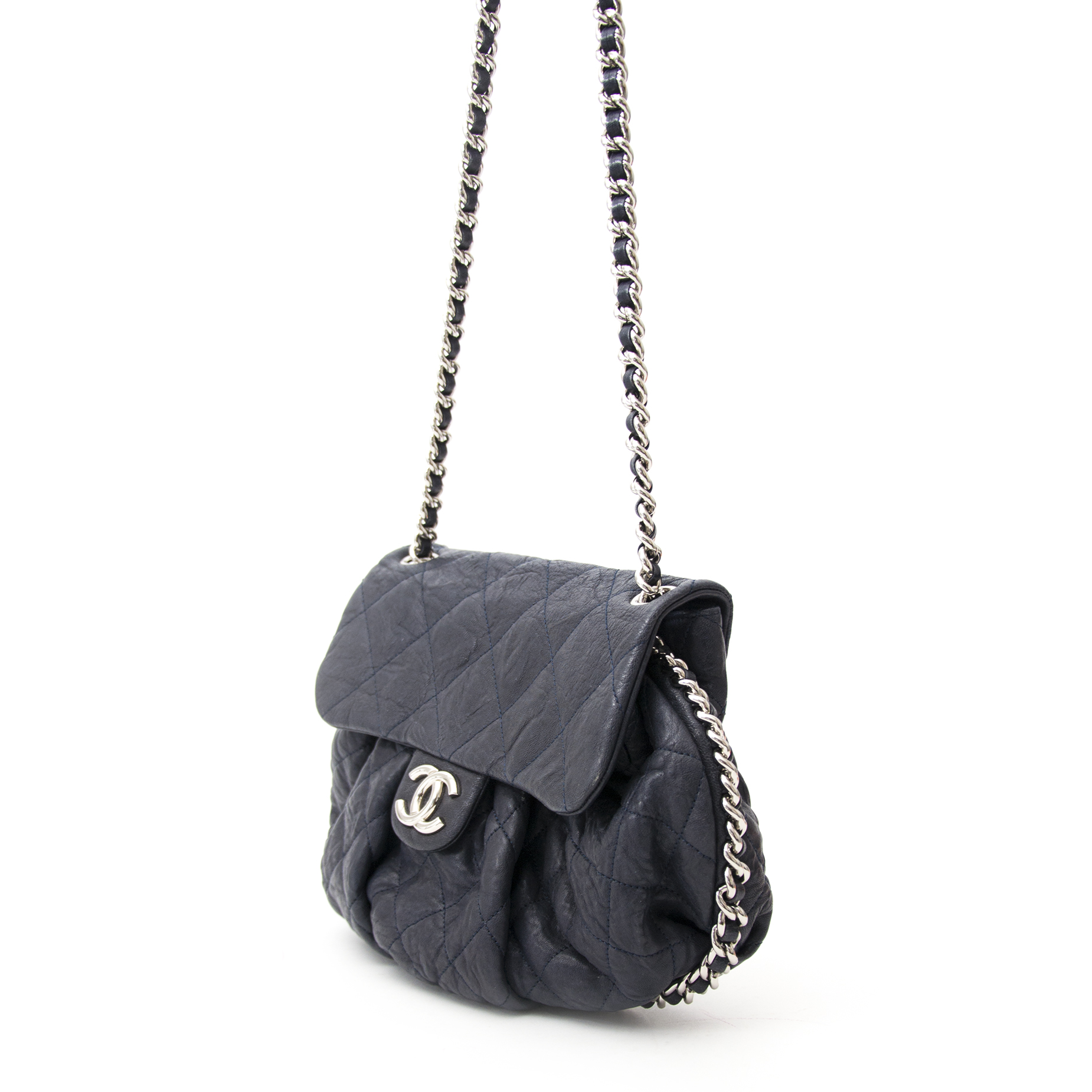 Chanel Blue Grey Chain Wrap Around Flap Bag 2014 collection enligne pour le meilleur prix