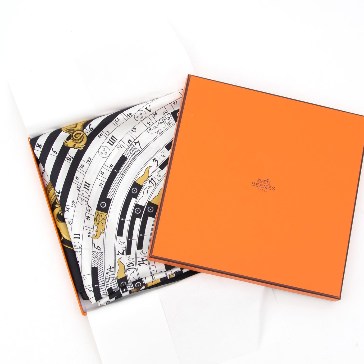 Buy safe online authentic preowned Hermès Silk Carré Scarf Calendar. Acheter 100% authentic seconde main.