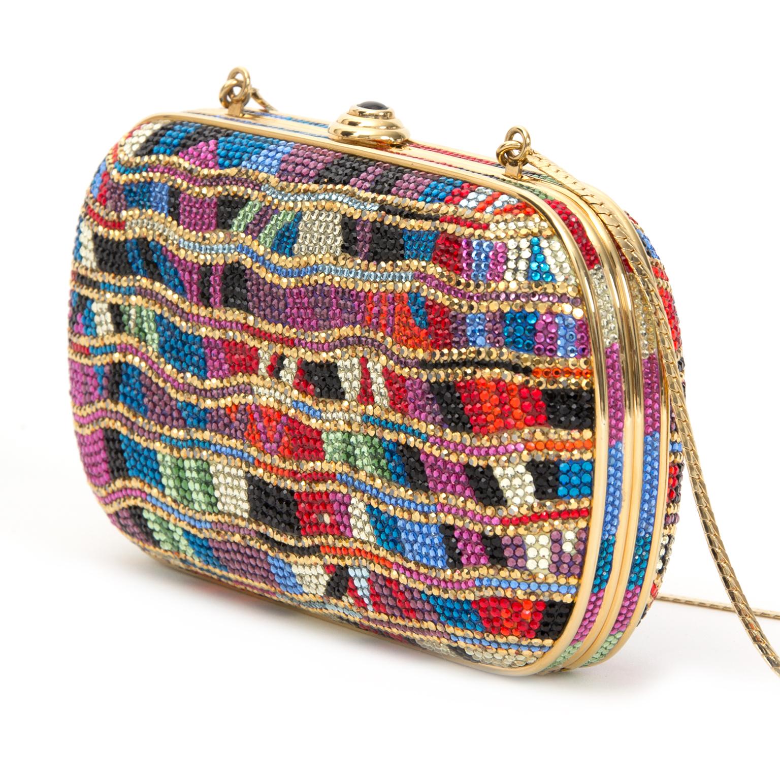 designer Judith Leiber Swarovski Crystal Multicolored Minaudiere like new online