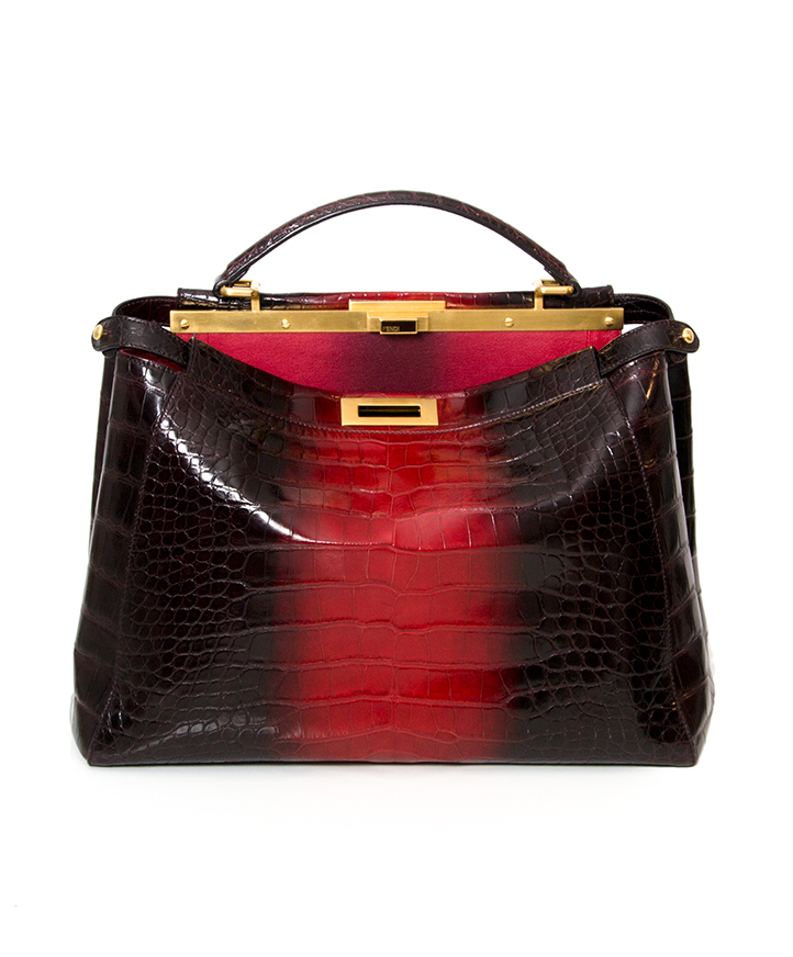 Authentic secondhand Fendi Iconic Peekaboo Tie and Dye Rouge Crocodile Bag  leather shoulder bag handbag right price safe secure shopping