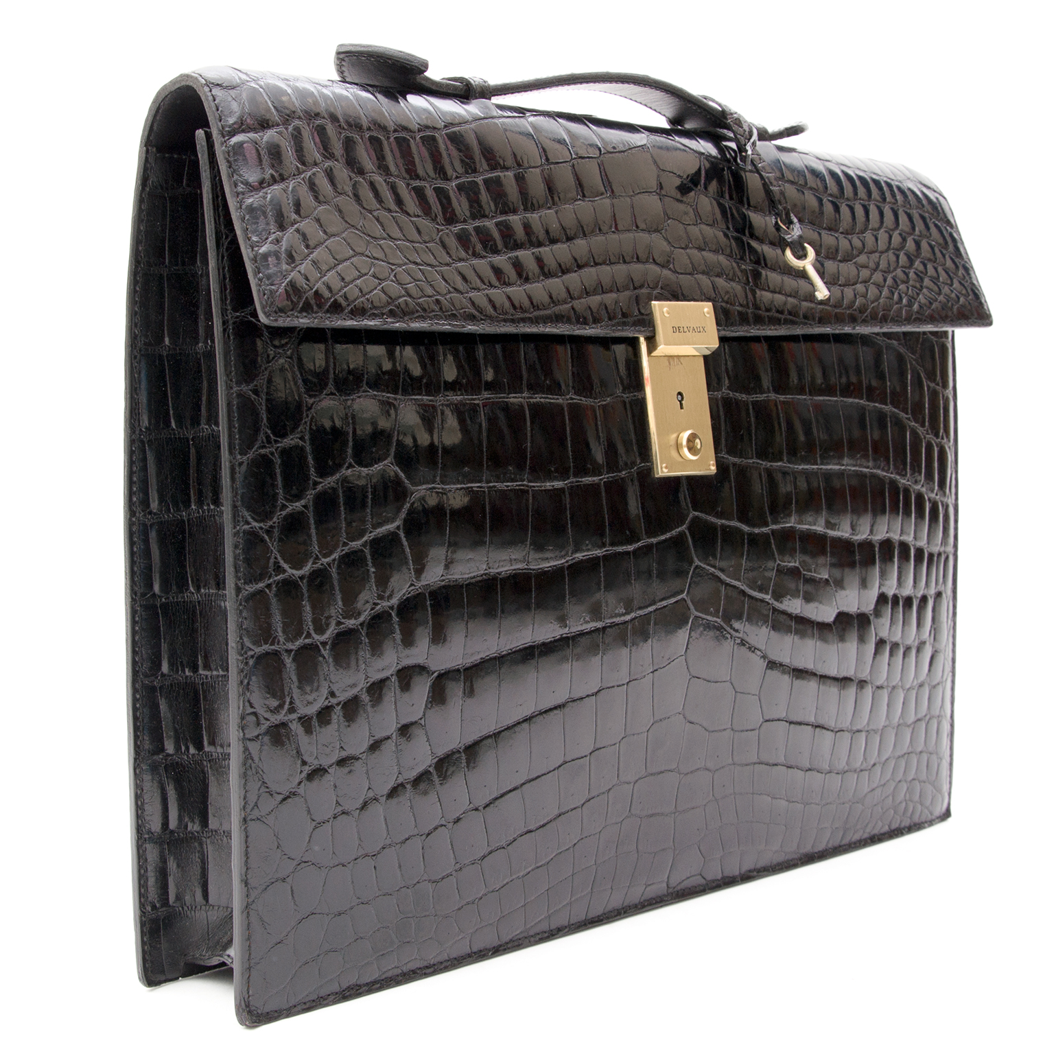 Delvaux Croco black briefcase, For designer brands such as Louis Vuitton, Hermes, Chanel, Delvaux and many more, visit the online platform Labellov. The website offers a safe and secure platform to sell and buy new or preloved luxurious bags.