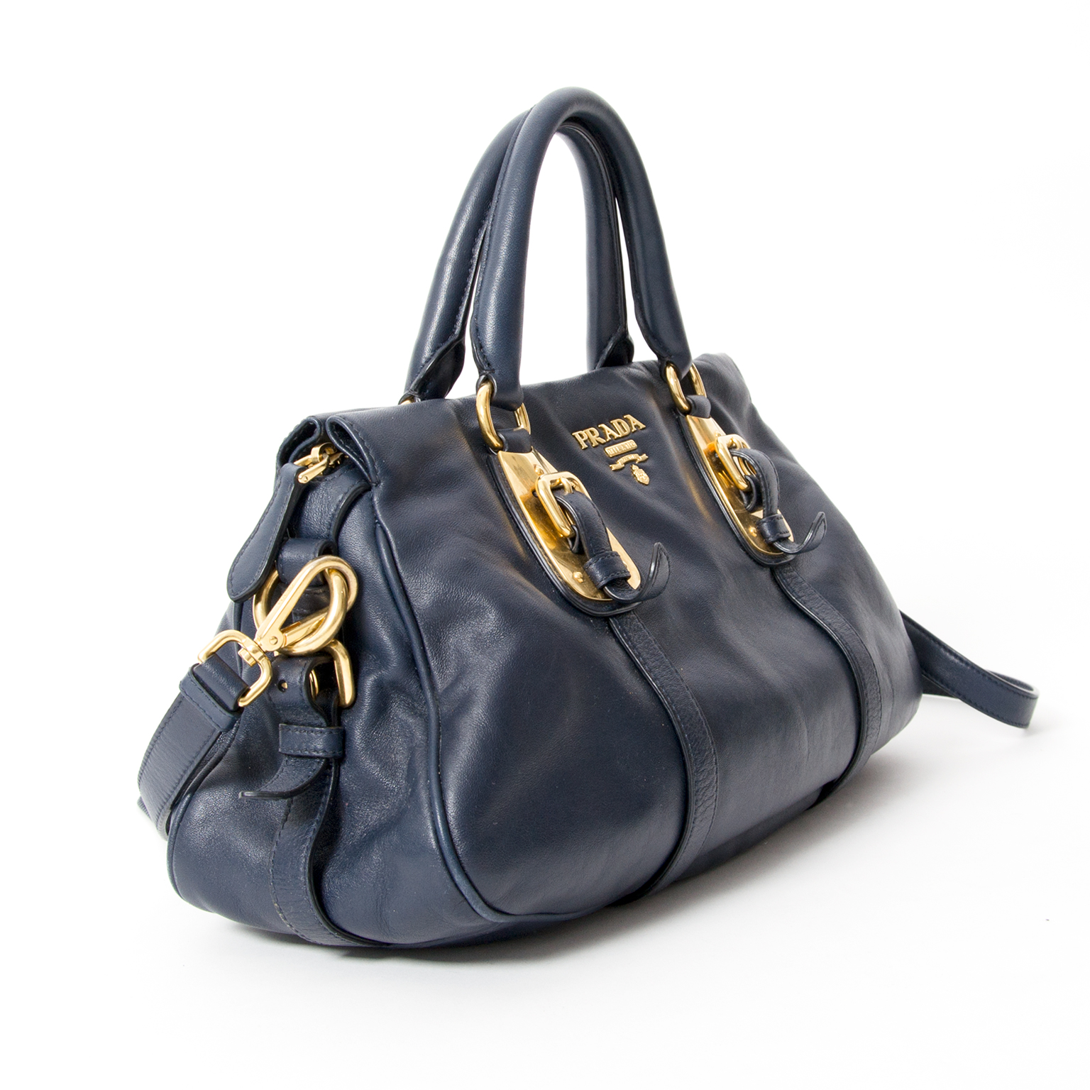 eda712796715 ... Prada Navy Leather Gold Buckle Hand/Crossbody Bag Prada bags are well-  known and