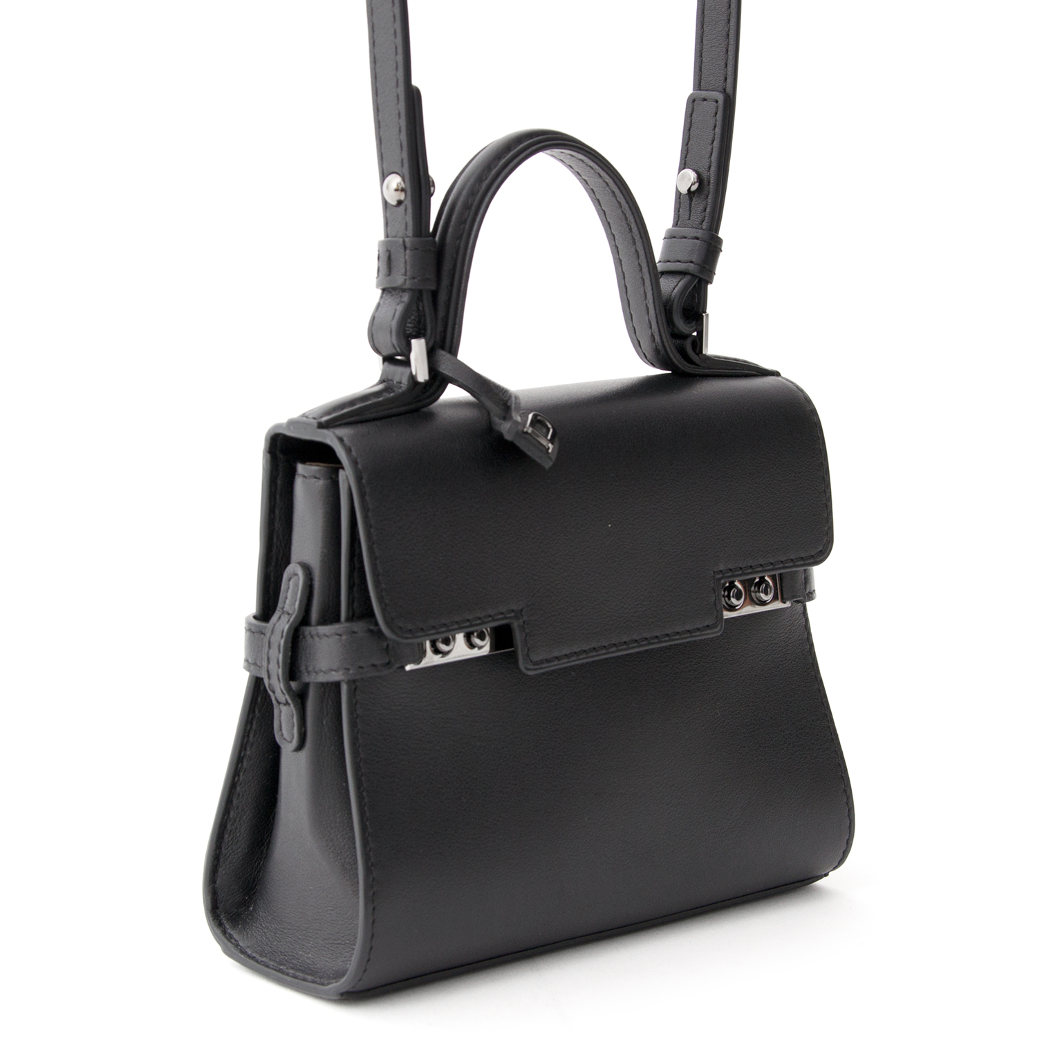 ba13c9ad819b Handmade in BRAND NEW Delvaux Tempête Micro Calf Souple Black. Buy  authentic preloved Delvaux bags at LabelLOV s