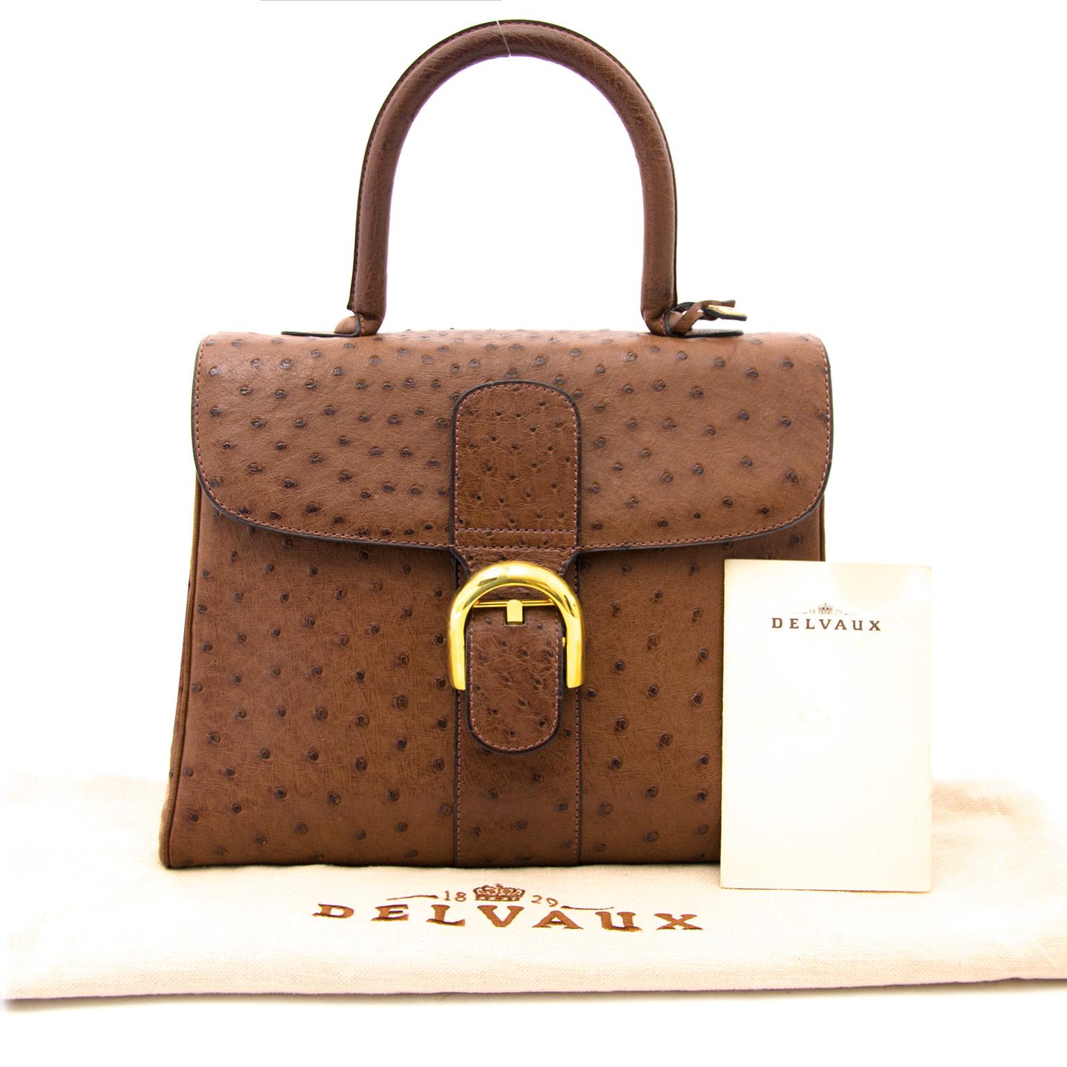 Acheter en ligne chez labellov.com Delvaux brillant mm Ostrich Tabac