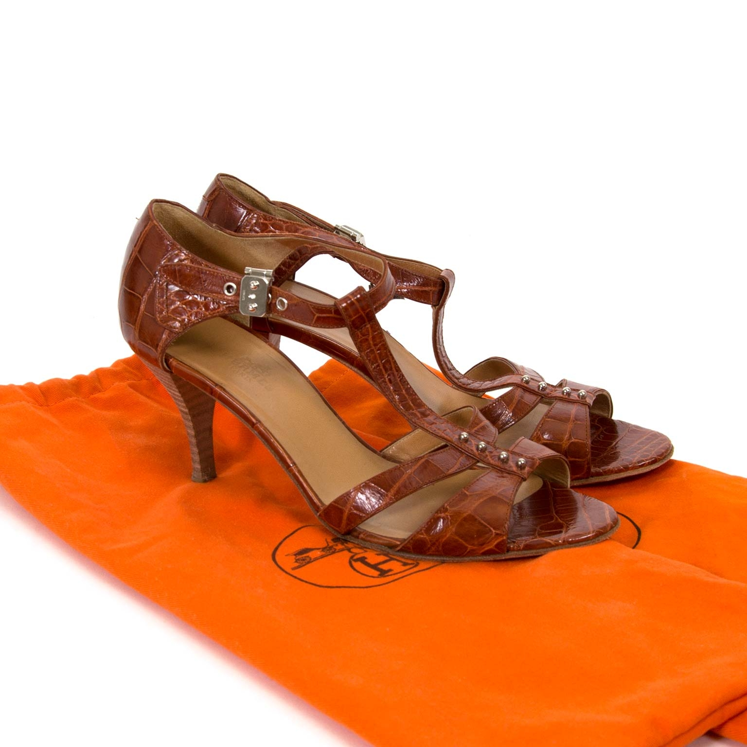 hermès croco brown sandals now for sale at labellov vintage fashion webshop belgium