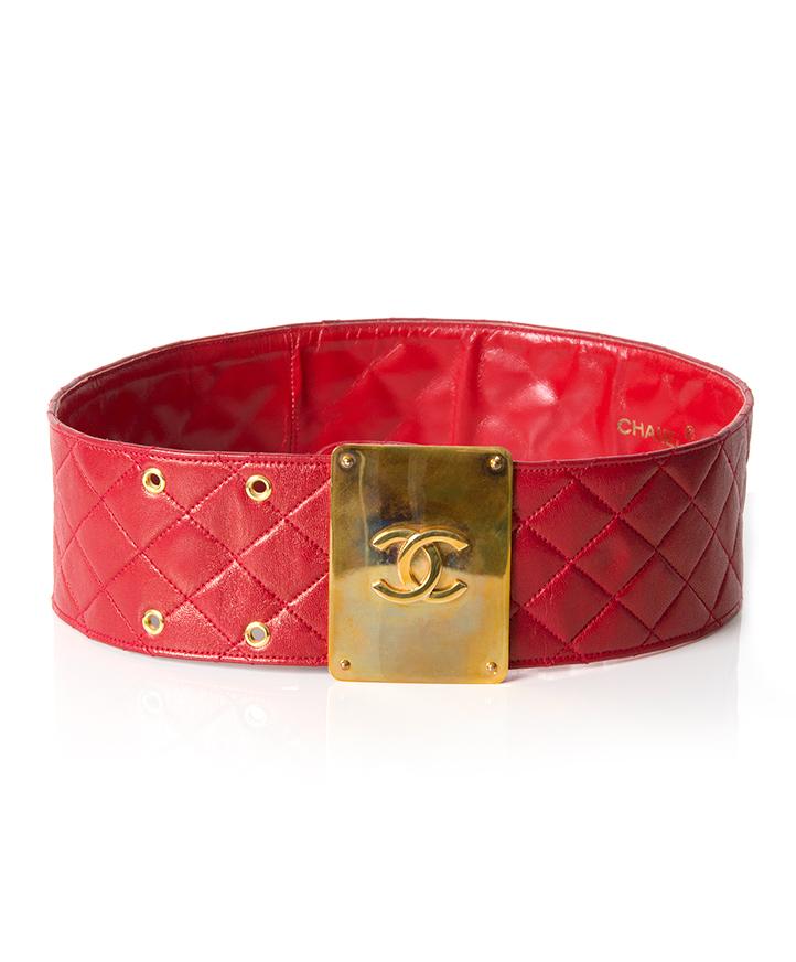 Chanel Vintage Red Lambskin Belt seconde main authentique mode en ligne en vogue luxe designers marques sacs ceinture Anvers Belgique LabelLOV webshop shopping