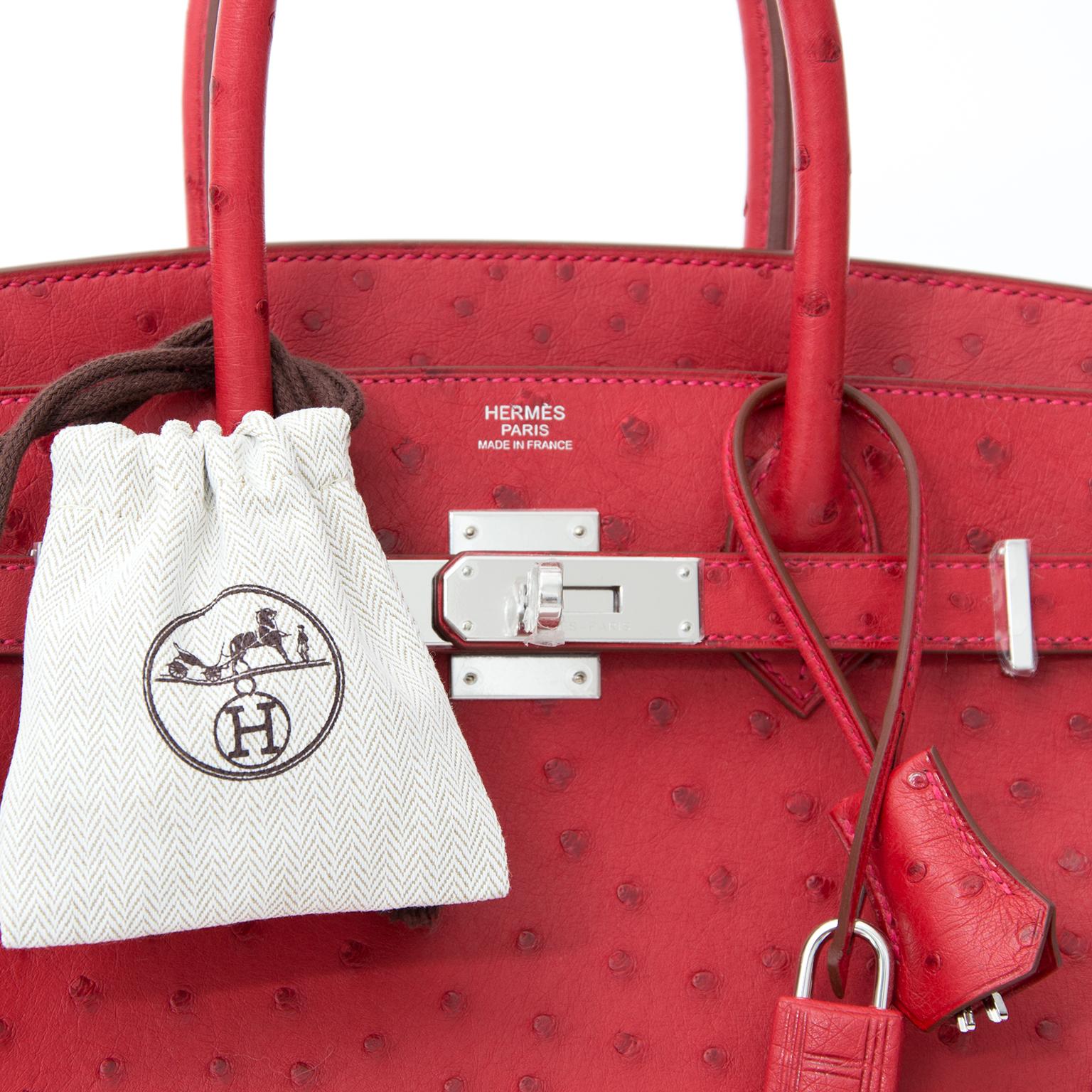 Hermes Ostrich Birkin 30 Rouge Vif Buy authentic secondhand Hermès bags at the right price at LabelLOV vintage webshop. Safe and secure online shopping. Koop authentieke tweedehands Hermès tassen aan de juiste prijs bij LabelLOV webshop.