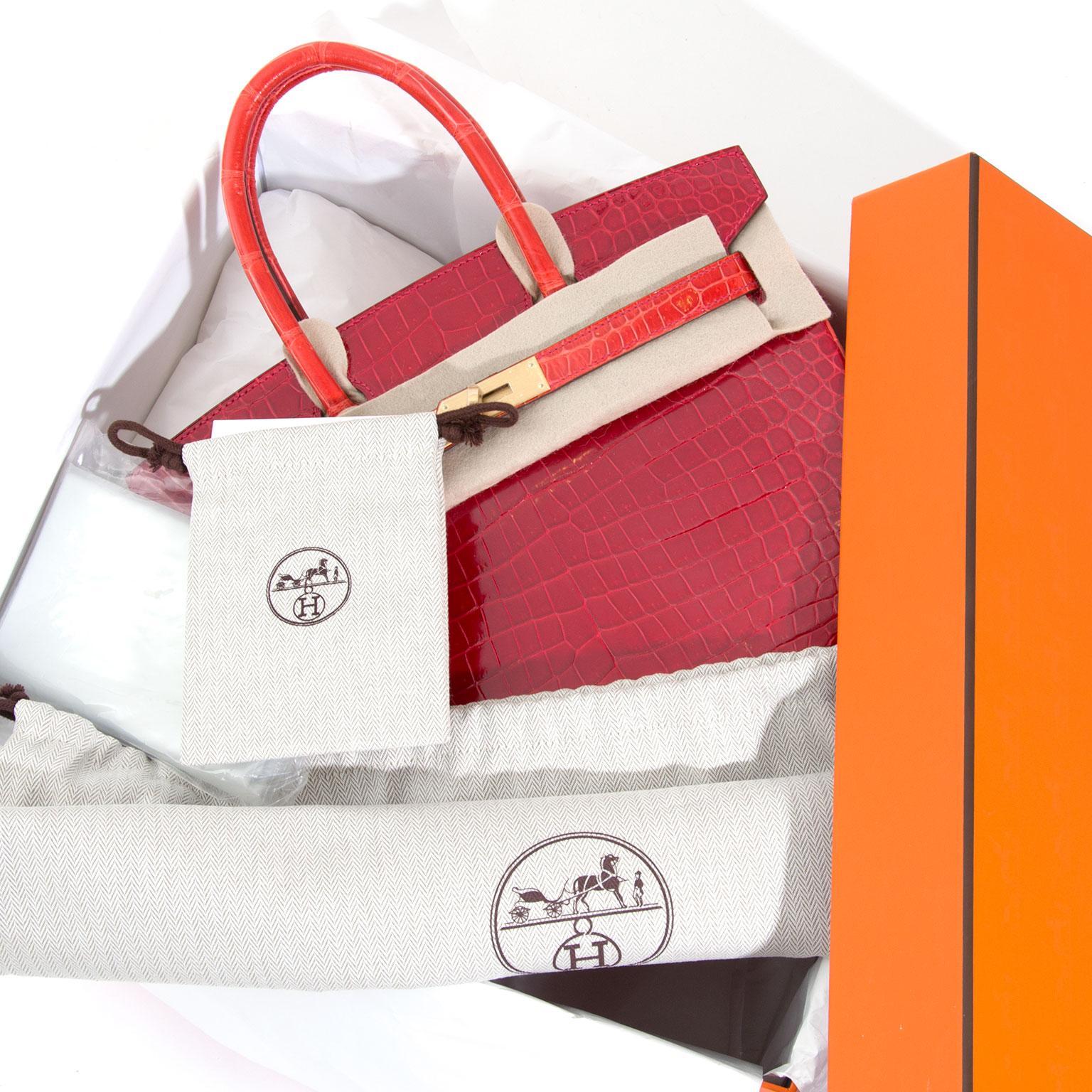 commande special order piece unique horseshoe Achetez en ligne seconde main luxe sacs à main, à dos, au épaule.  BRAND NEW Hermès Birkin Bicolor Red & Orange Croco Porosus Lisse Permabrass