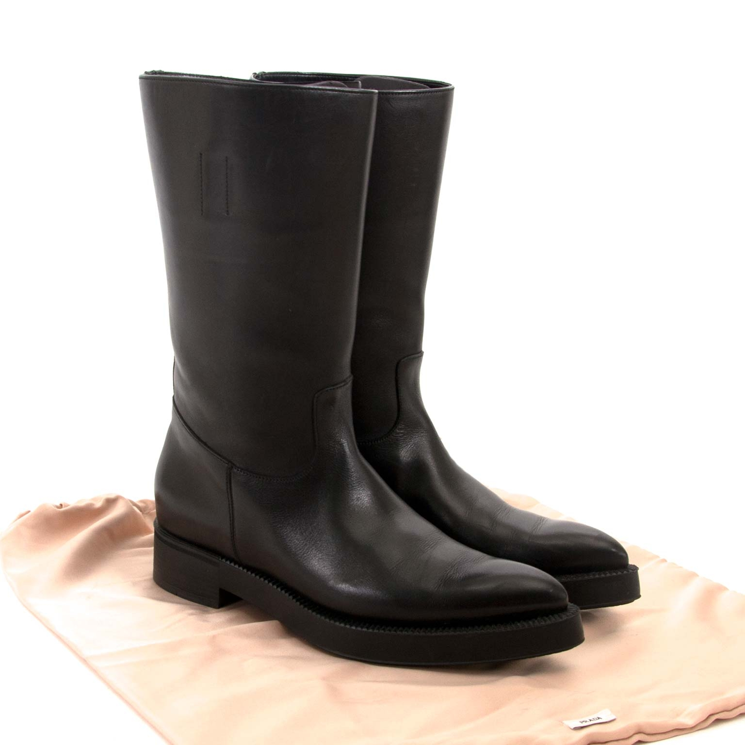 buy prada black calfskin leather boots now for sale at labellov vintage fashion webshop belgium