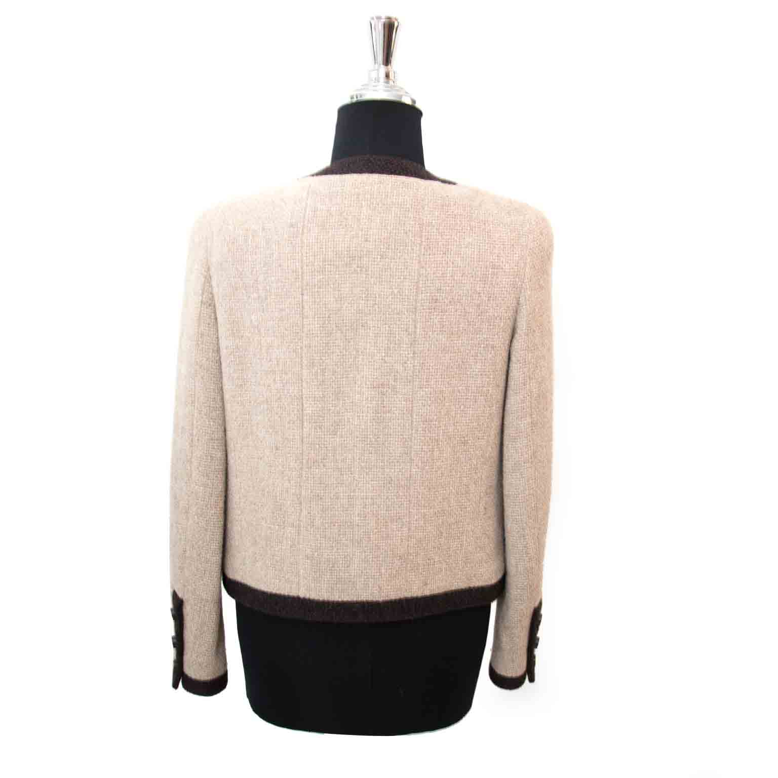 Chanel Woolen Beige - Brown Jacket Size 36 at the best price 2017