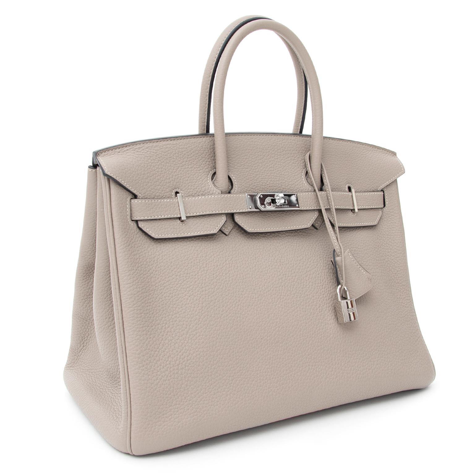 ... seconde main en ligne acheter prix correcte Hermès Birkin Gris  Tourterelle 35 Togo PHW tweedehands hermes handtassen authentiek certifié b0d6d025749